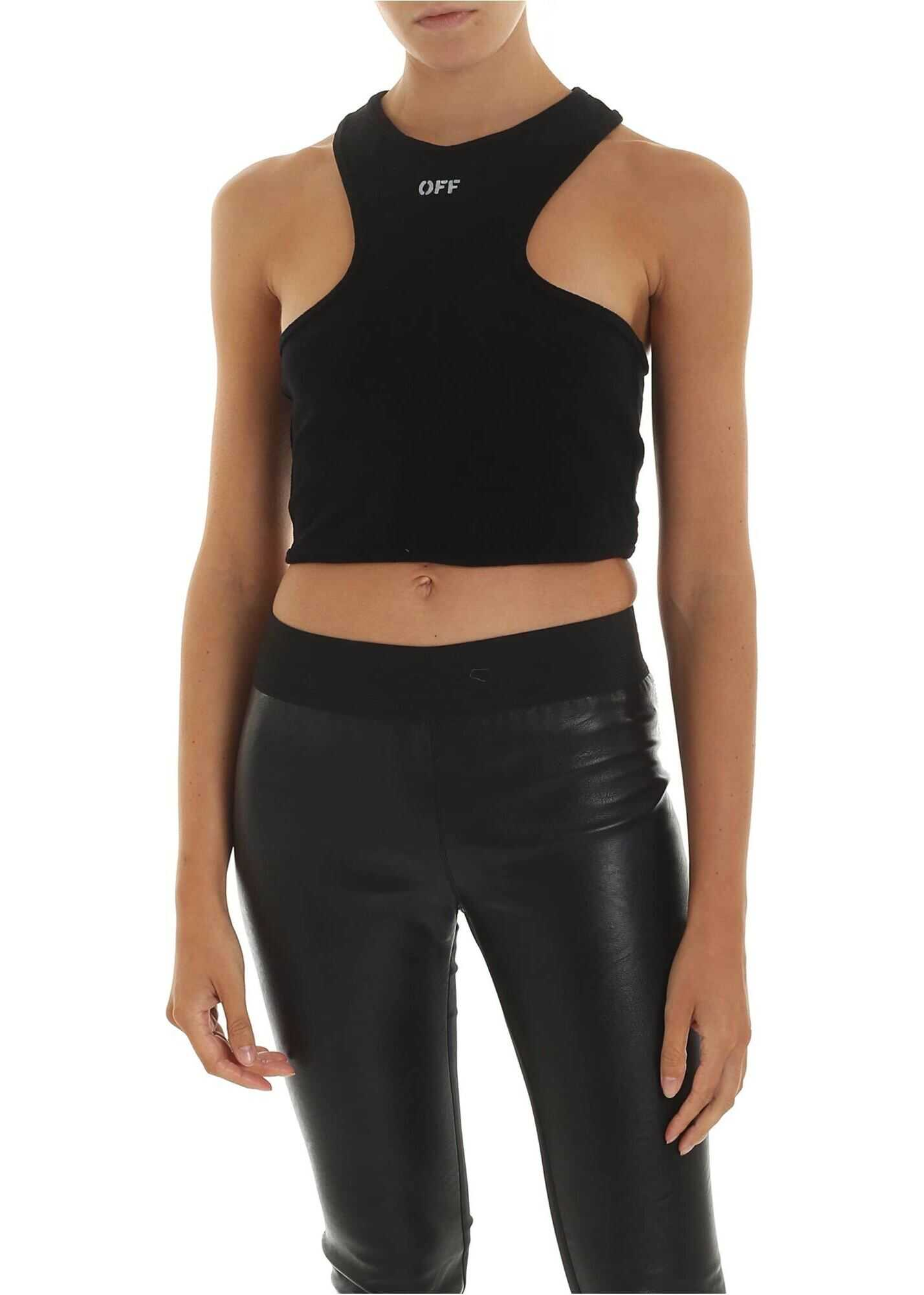 Black Sleeveless Top With Off Print thumbnail