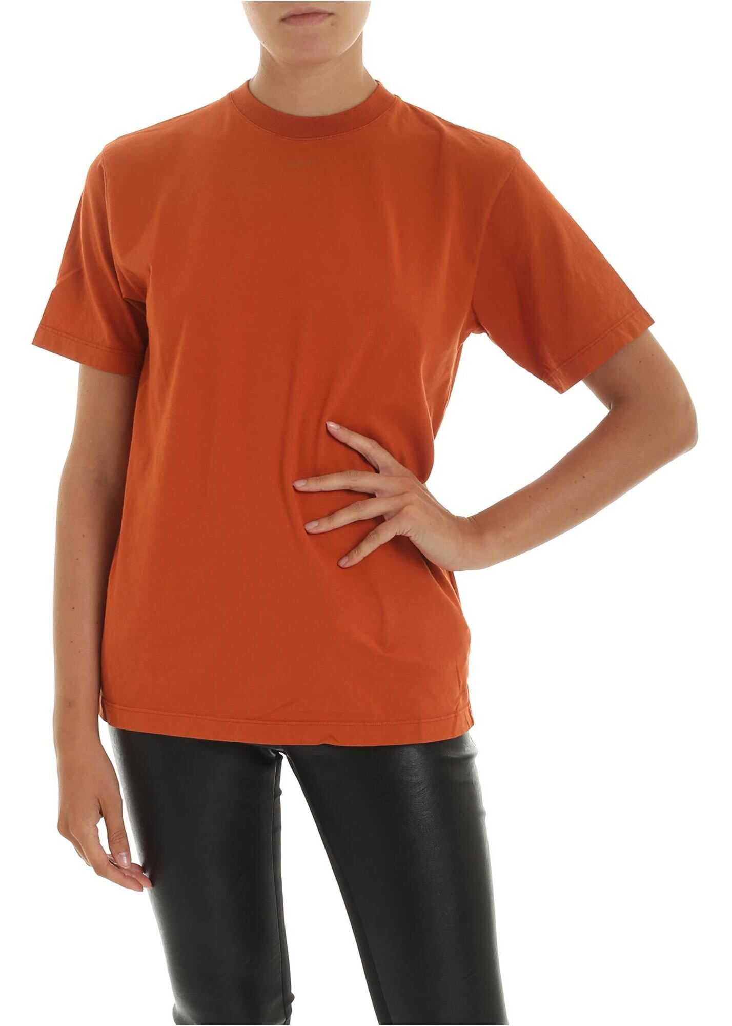 T-Shirt With Off Print In Orange Color