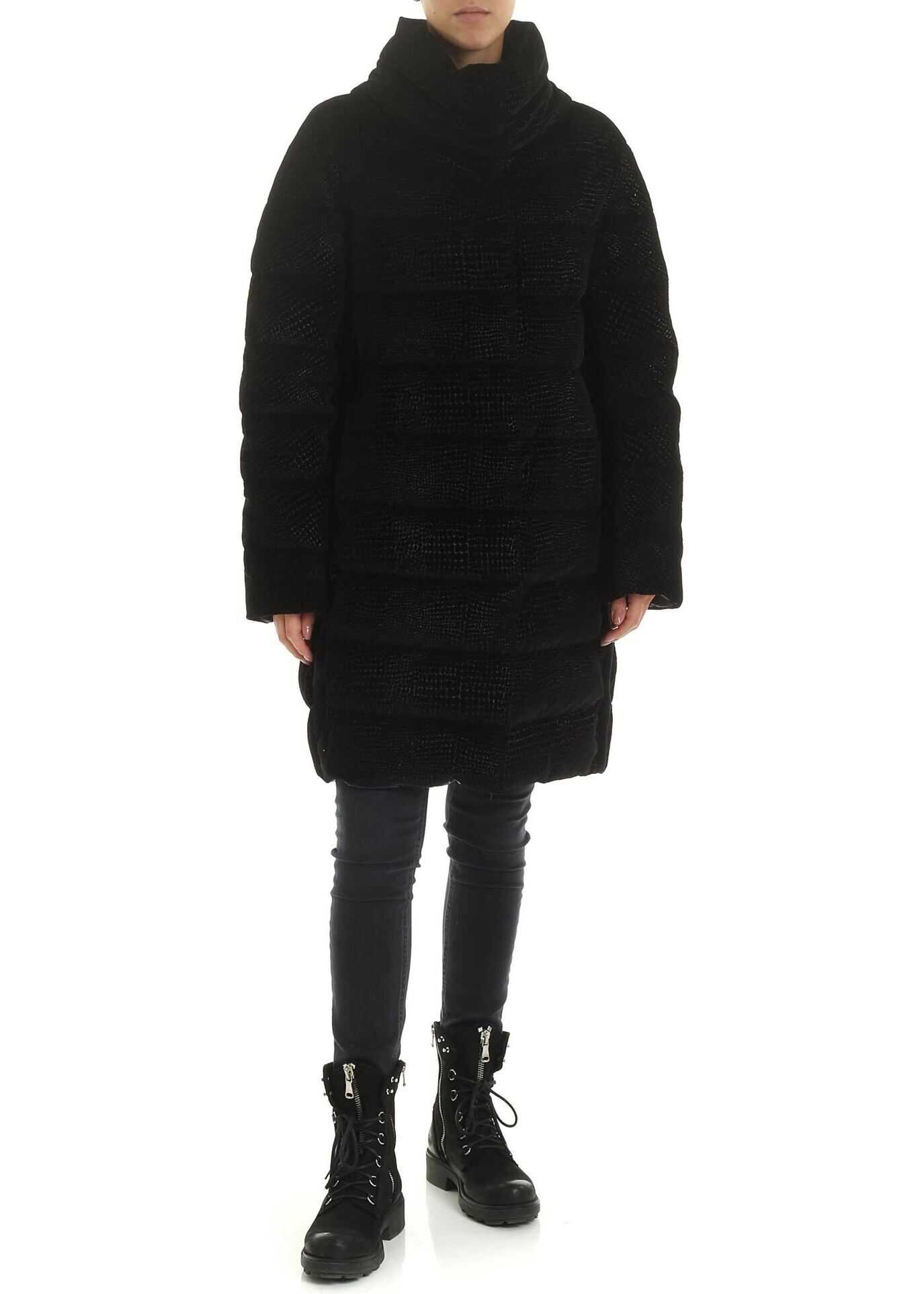 Herno Reptile Effect Black Velvet Down Jacket Black