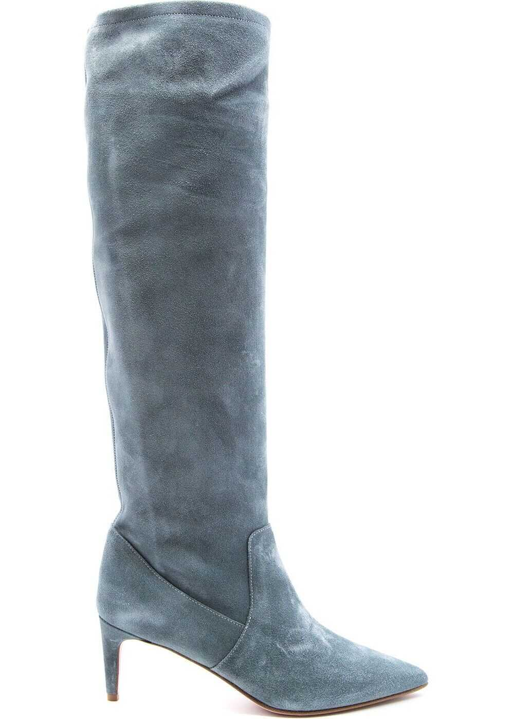 RED VALENTINO Leather Boots LIGHT BLUE