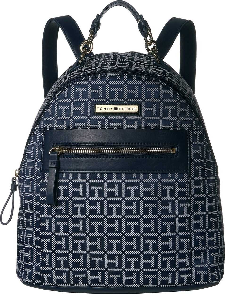 Tommy Hilfiger Claudia Jacquard Dome Backpack Navy Tonal