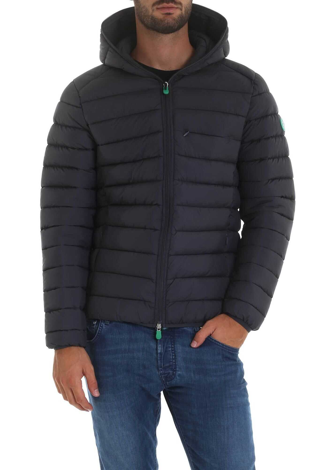 Save the Duck Down Jacket With Hood In Anthracite Grey Color Grey imagine