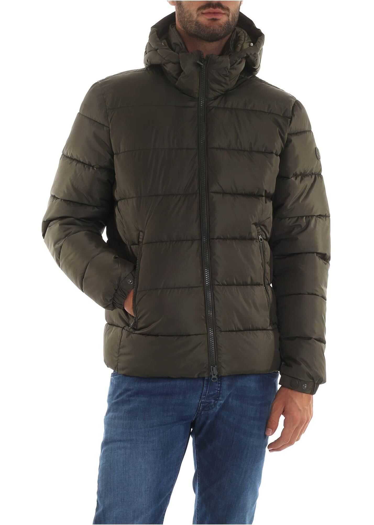 Save the Duck Quilted Effect Down Jacket In Army Green Color Green