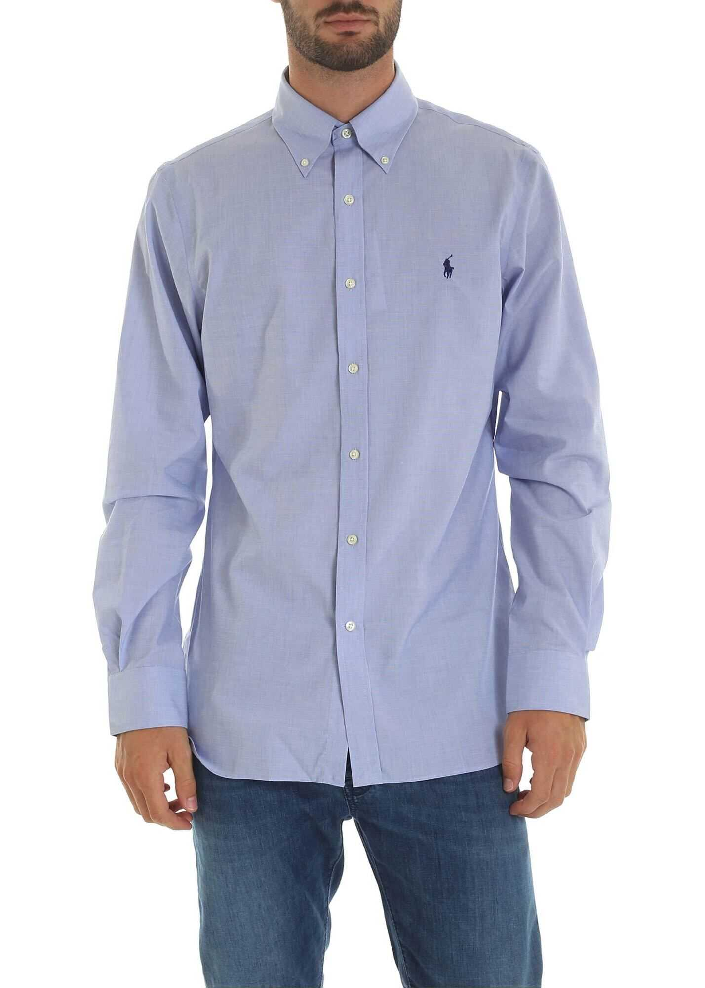 Ralph Lauren Light Blue Shirt With Logo Embroidery Light Blue imagine