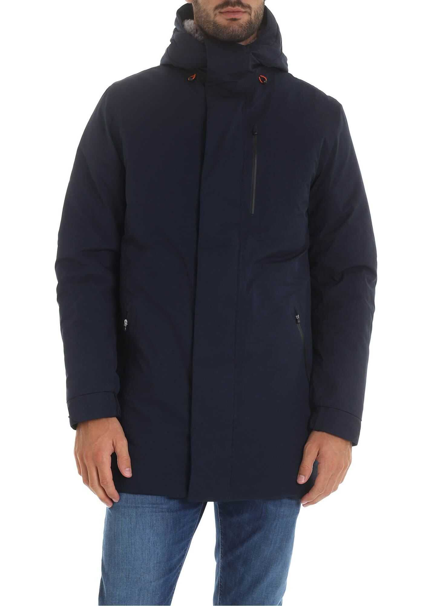 Save the Duck Dark Green Parka With Inner Eco-Fur Blue