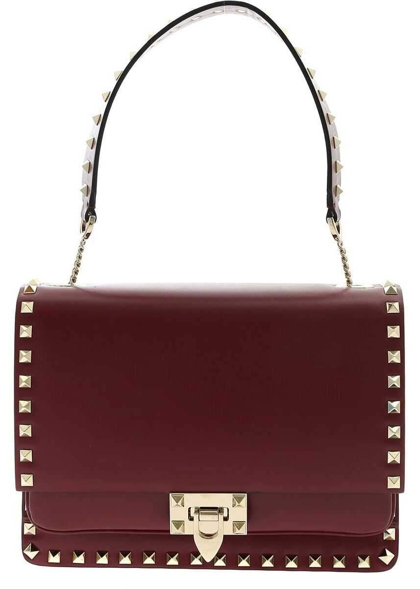Rockstud Shoulder Bag In Burgundy Color thumbnail