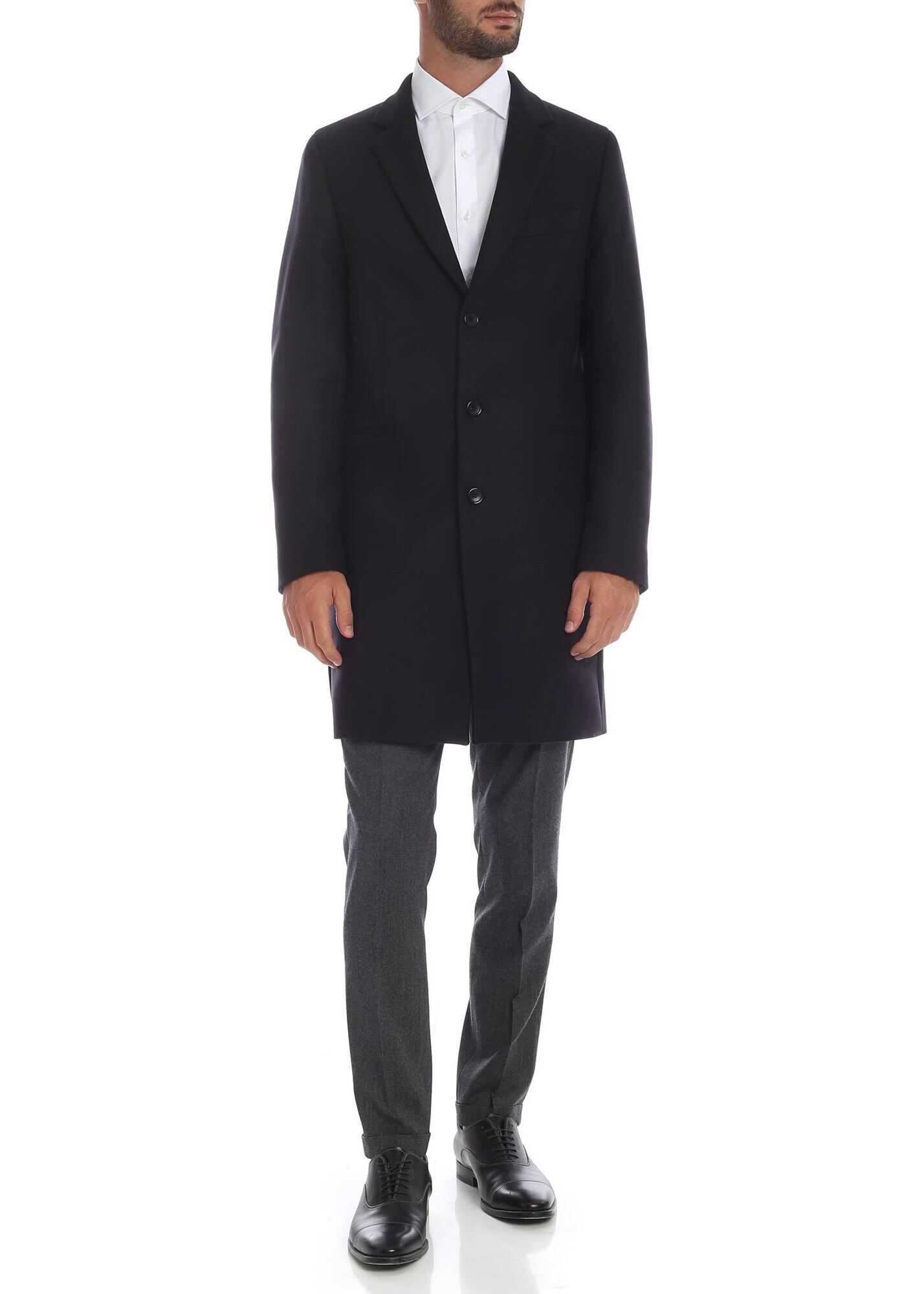 PS by Paul Smith Wool And Cashmere Coat In Black Black