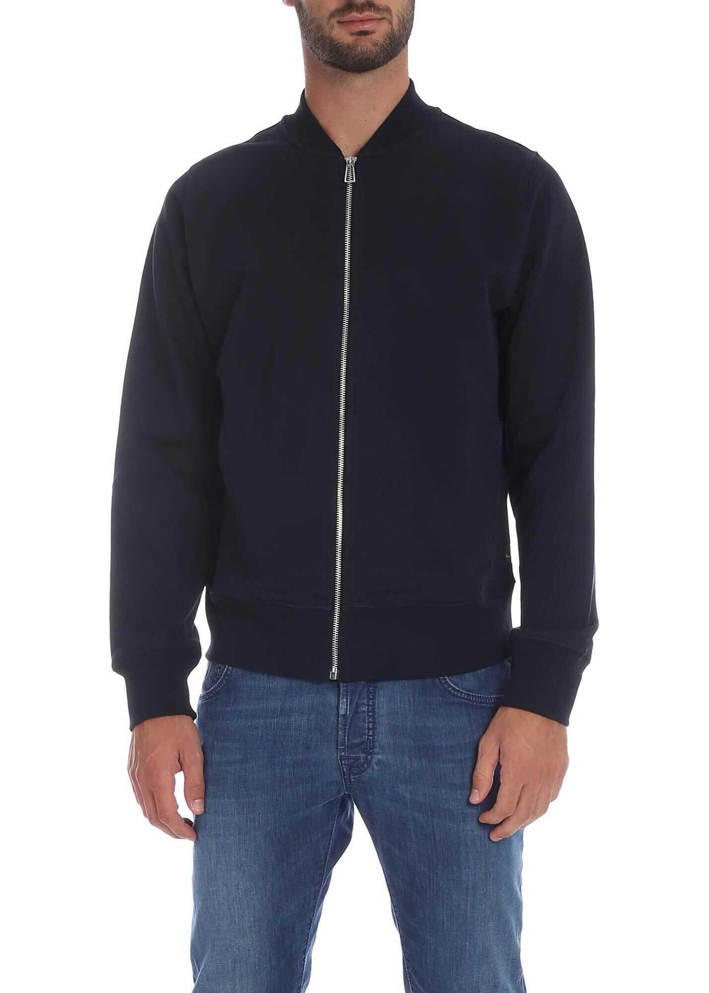 Dark Blue Sweatshirt With Branded Label thumbnail