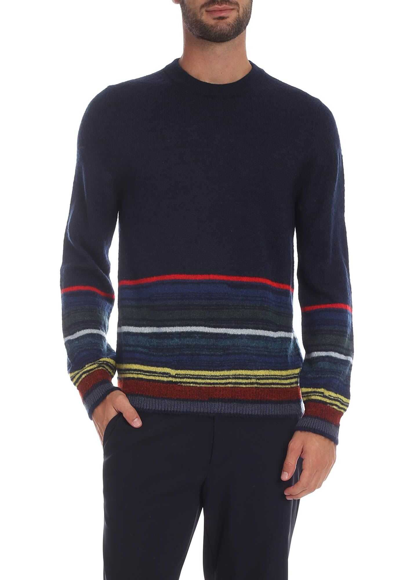 Blue Crew-Neck Pullover With Multicolor Stripes thumbnail