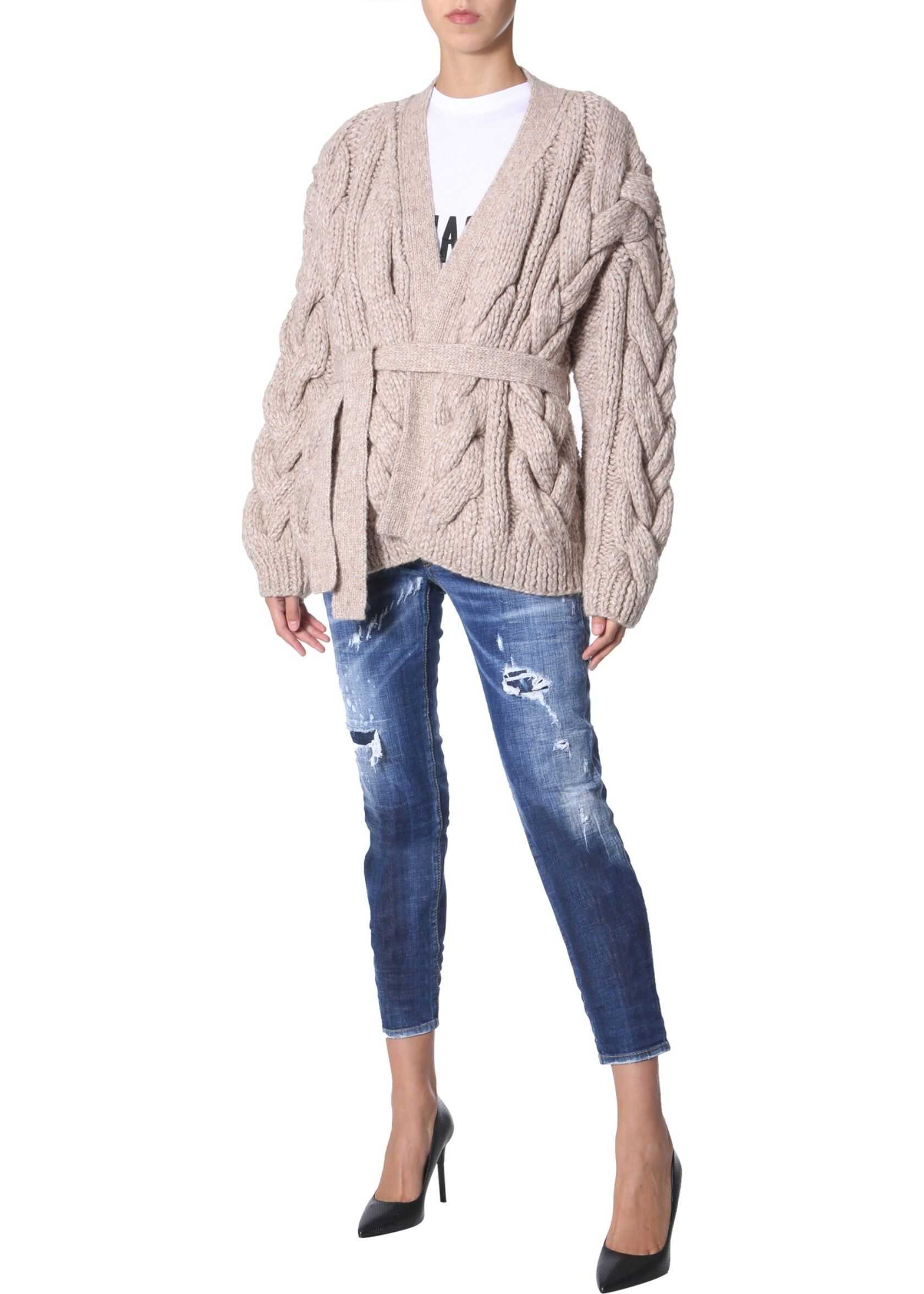 DSQUARED2 Knitted Cardigan In Braiding BEIGE