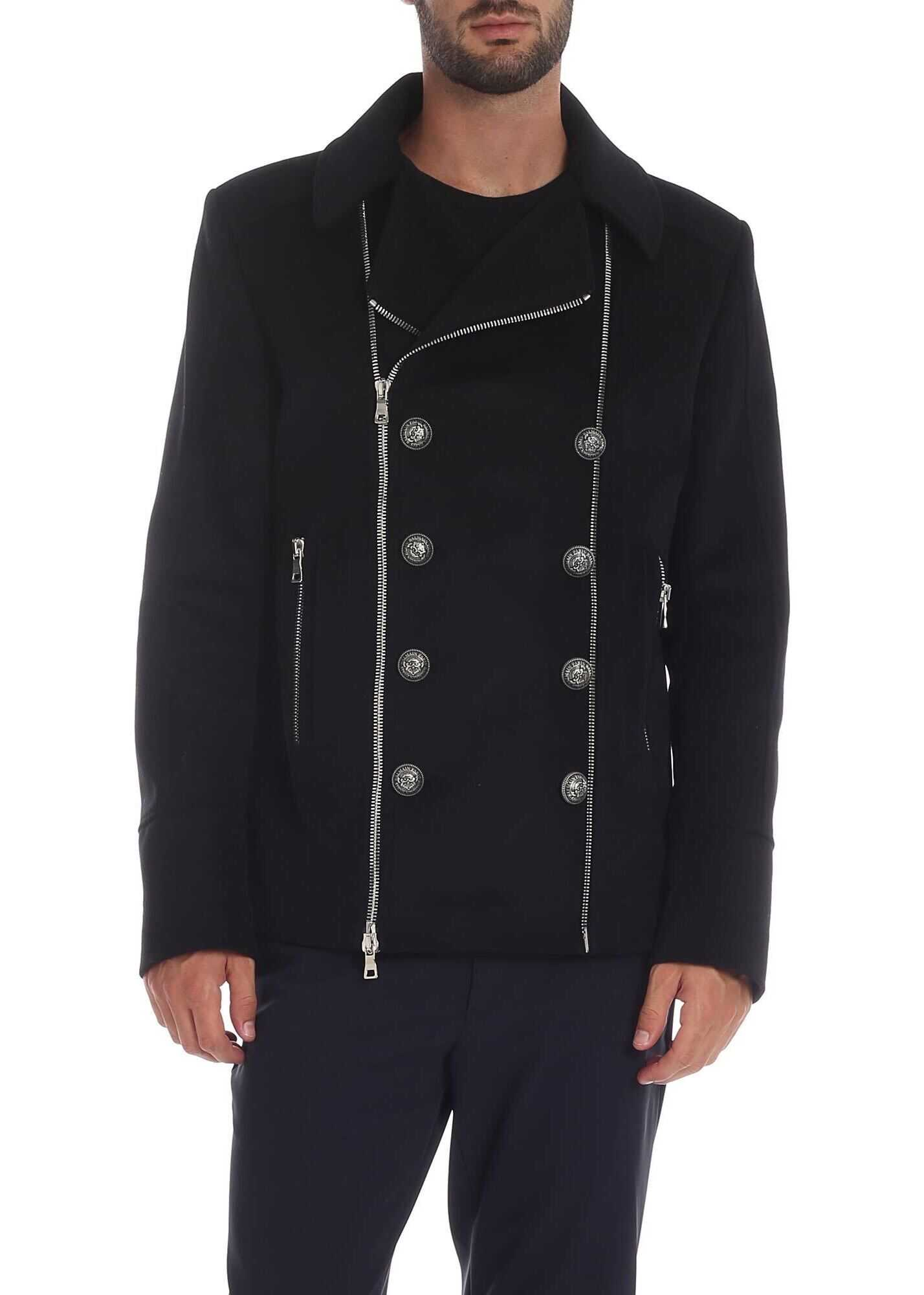 Balmain Black Jacket With Logo Buttons Black