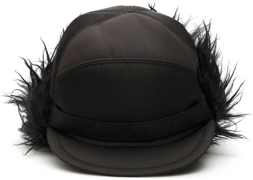 Prada Aviator Hat With Mohair Inserts NERO