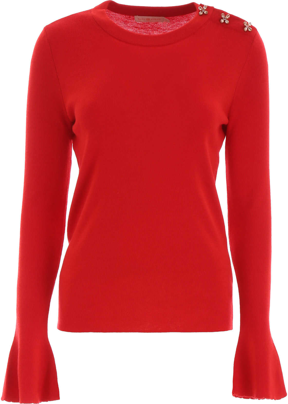 Tory Burch Crystal Button Pullover RED VOLCANO
