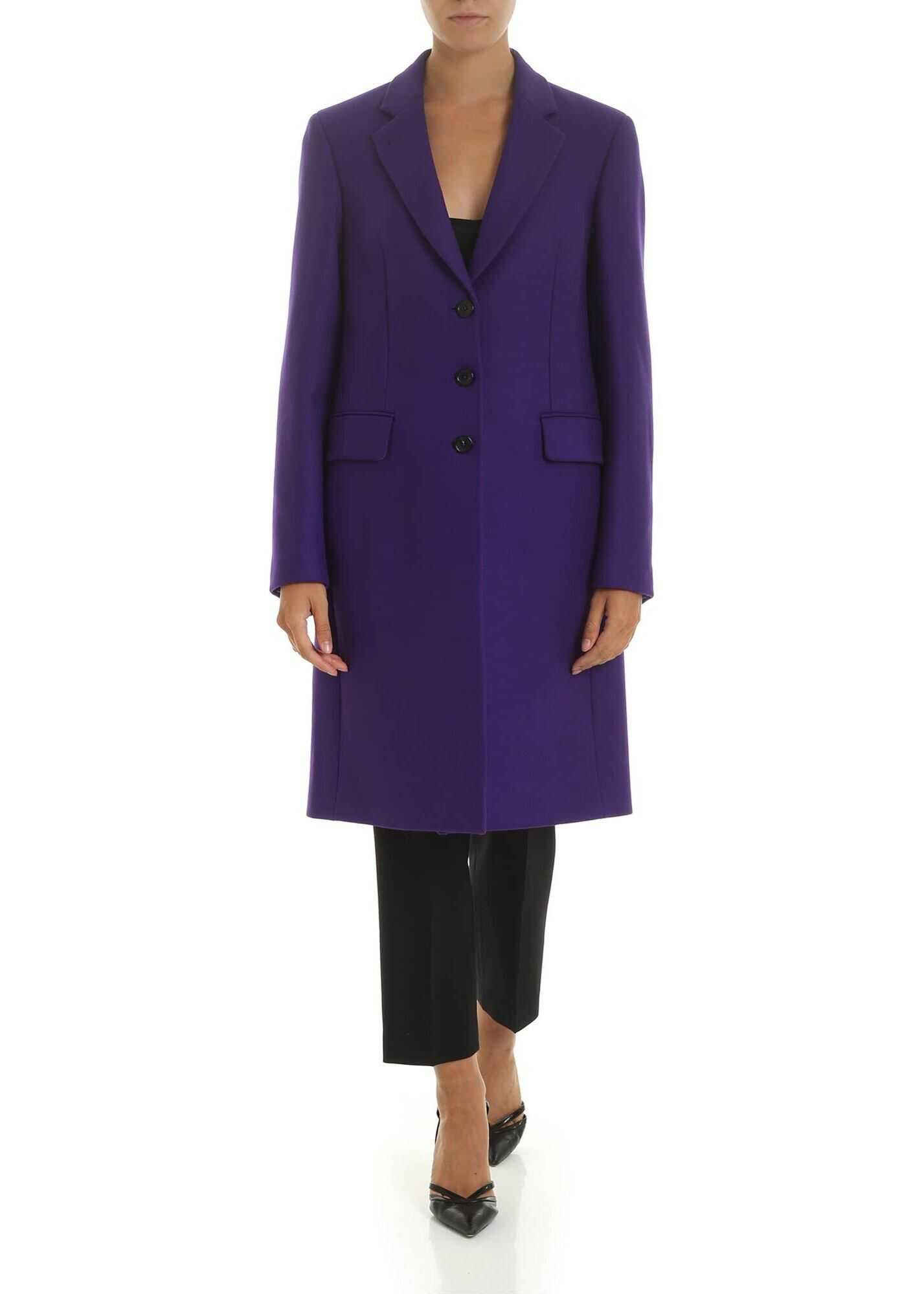 Wool And Cashmere Coat In Purple Color thumbnail
