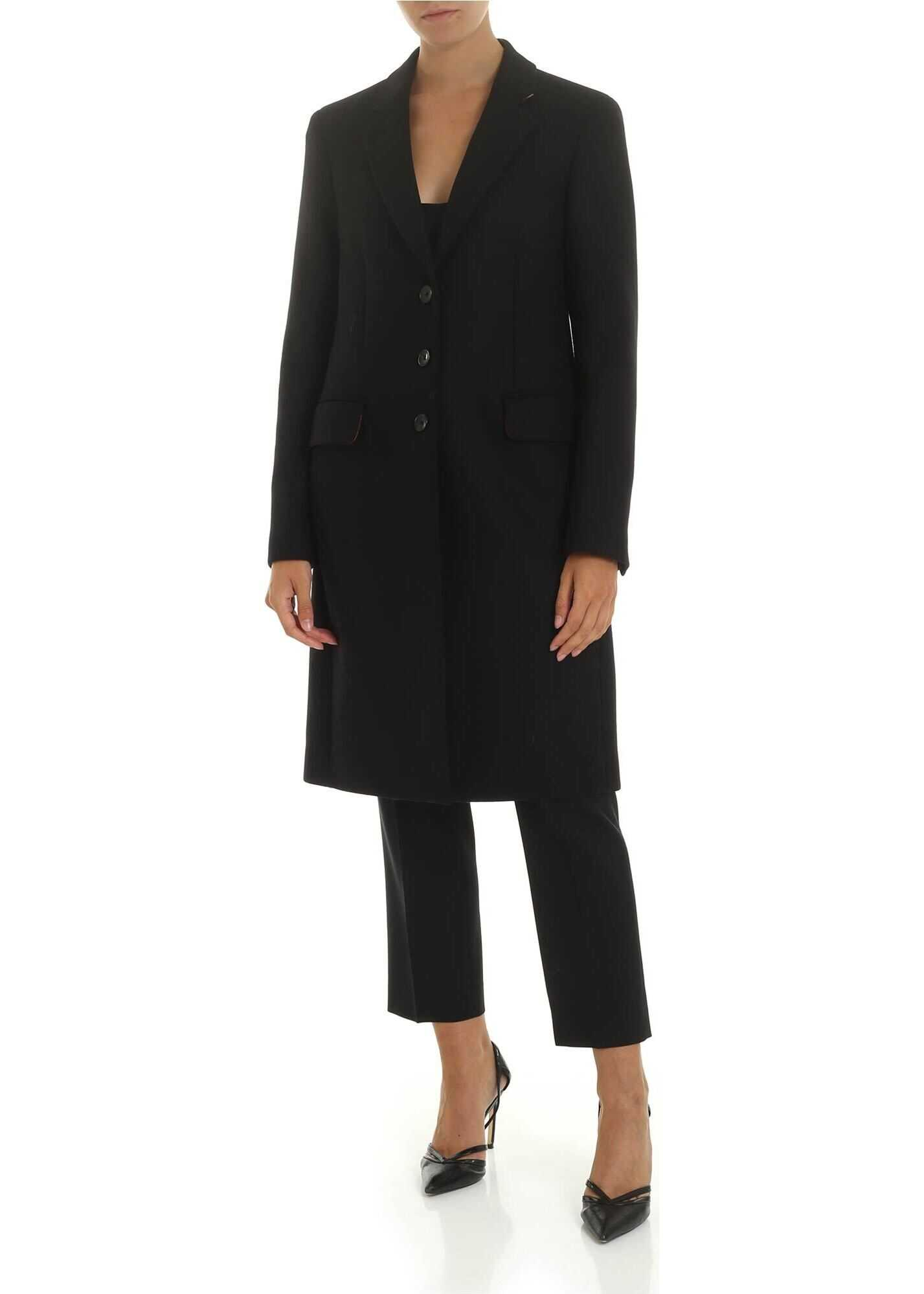 Wool And Cashmere Coat In Black thumbnail