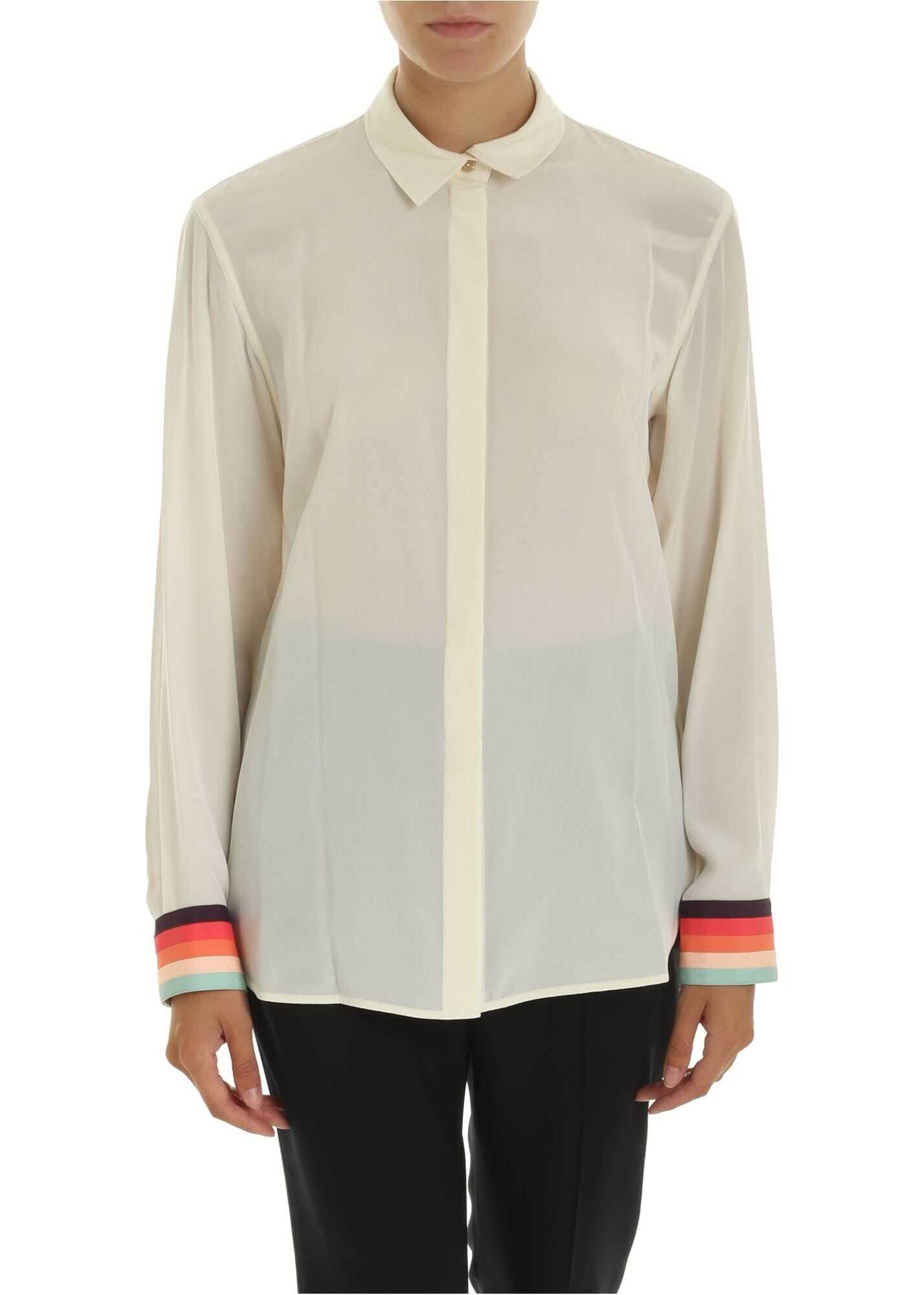 Silk Shirt In Ivory Color With Multicolor Details thumbnail
