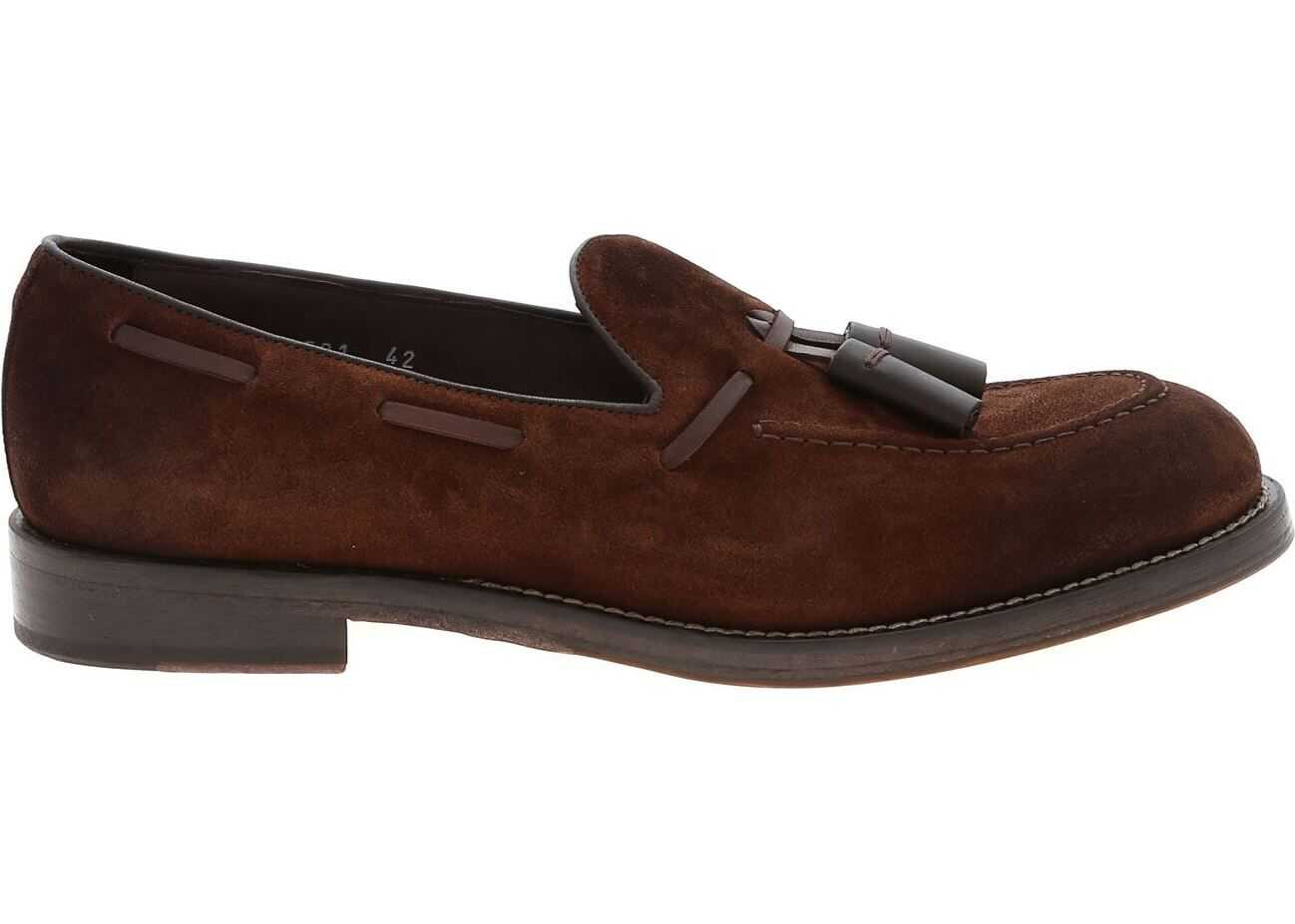 Doucal's Brown Suede Loafers With Tassels Brown