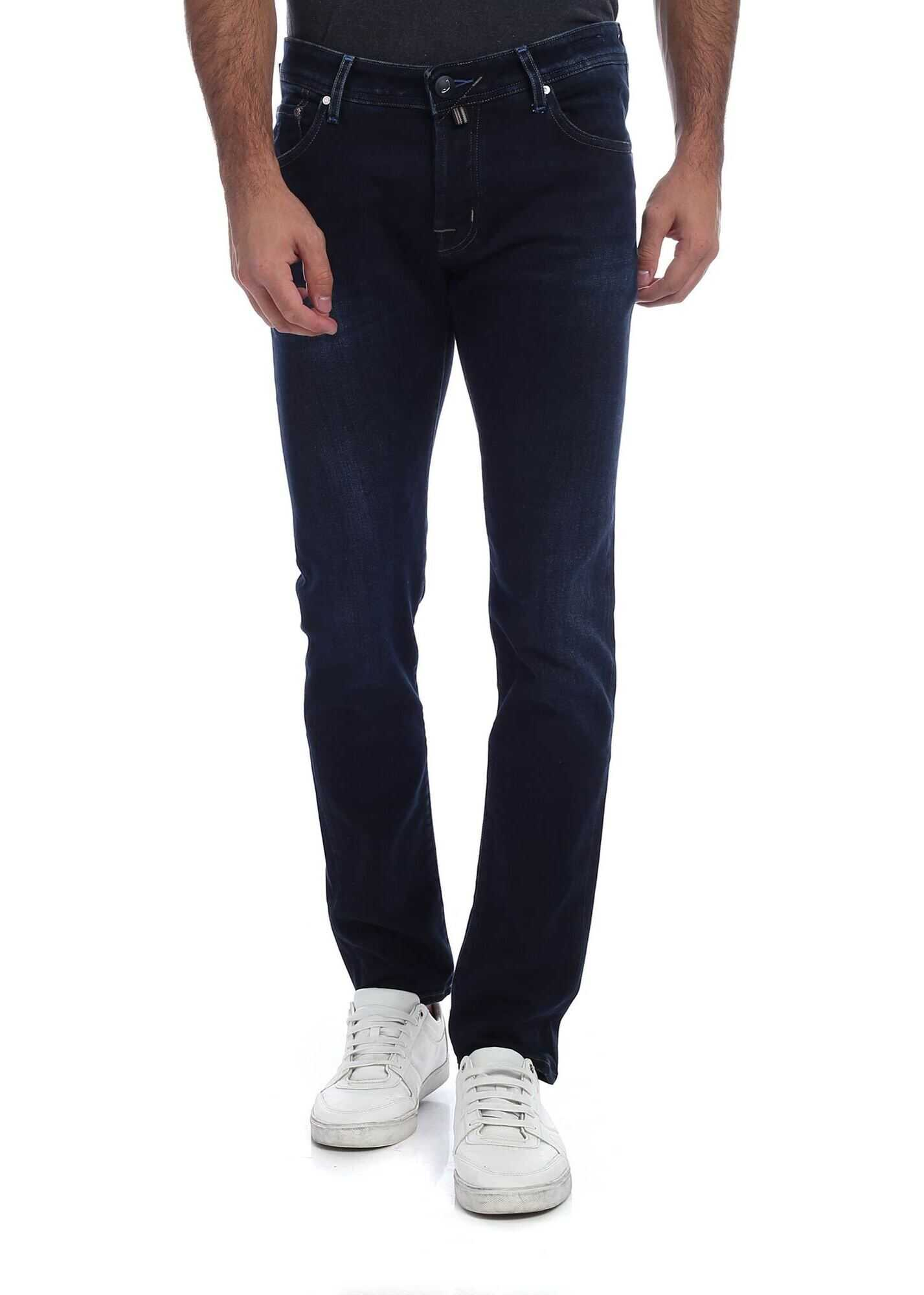 Jacob Cohen Blue Jeans With Tone On Tone Logo Blue