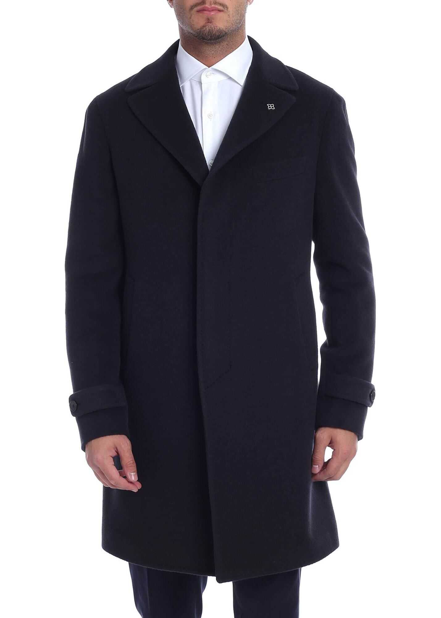 Alpaca And Virgin Wool Coat In Blue thumbnail