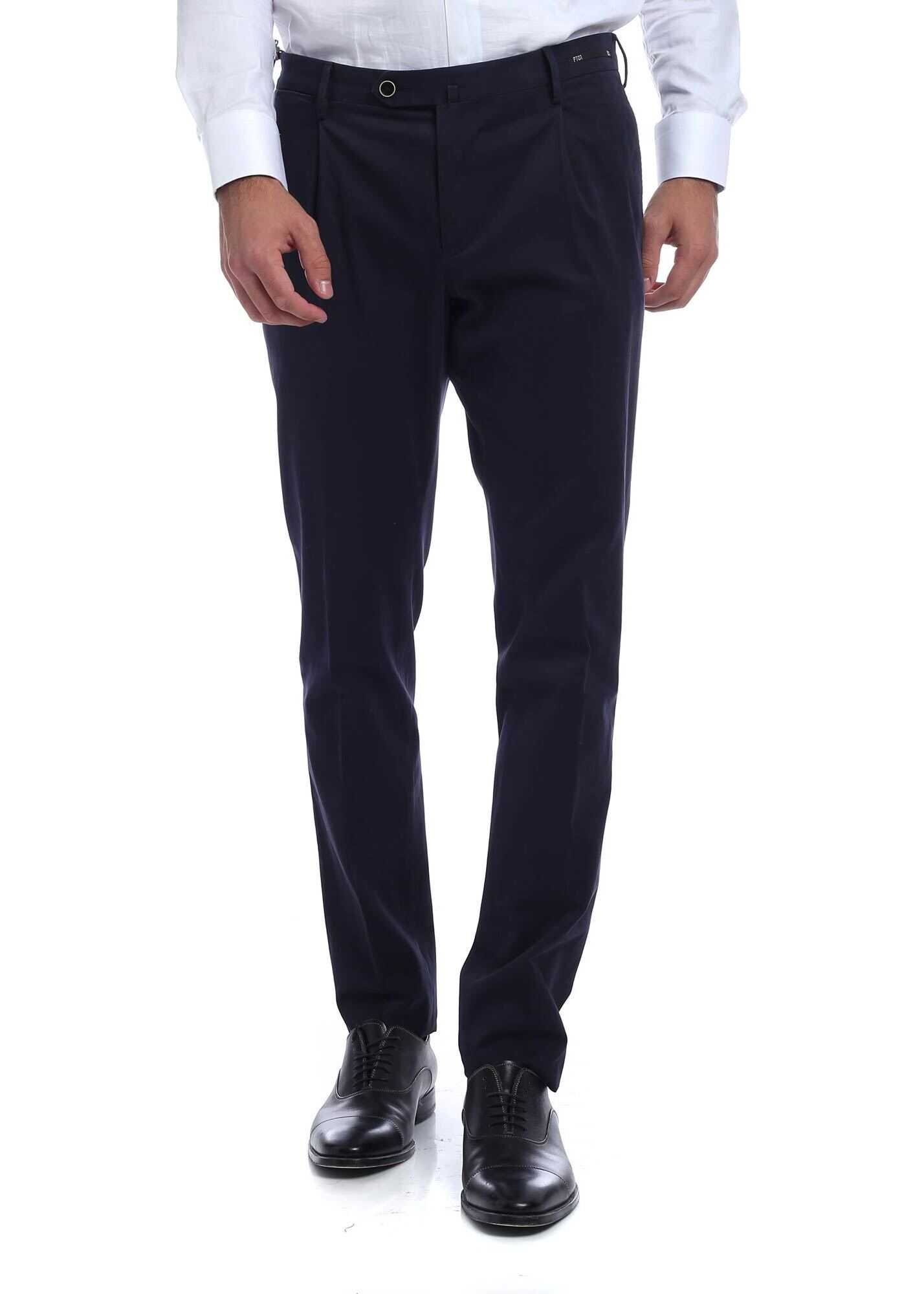 Stretch Cotton Trousers Blue thumbnail