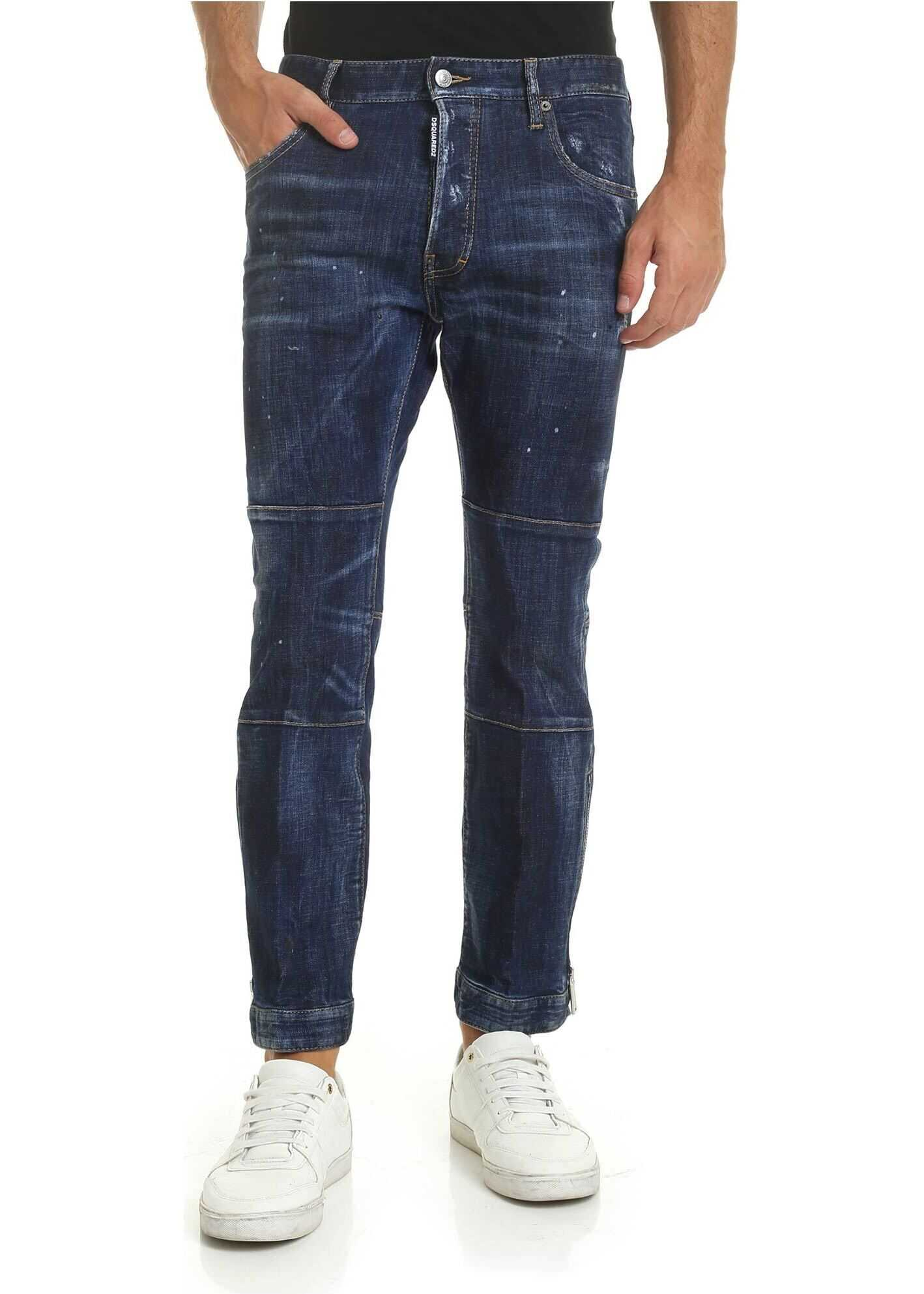 DSQUARED2 Biker Ski Jeans In Blue With Zip On The Bottom Blue