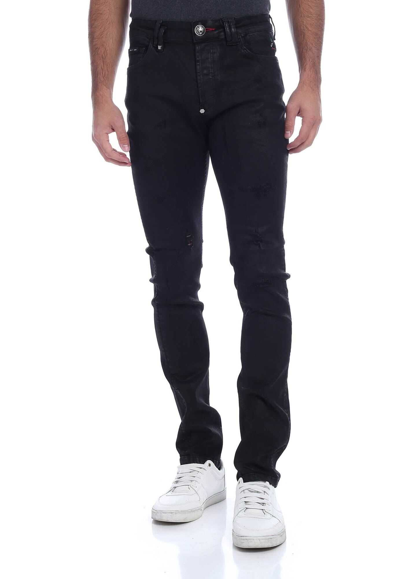 Philipp Plein Destroyed-Effect Jeans In Black Black