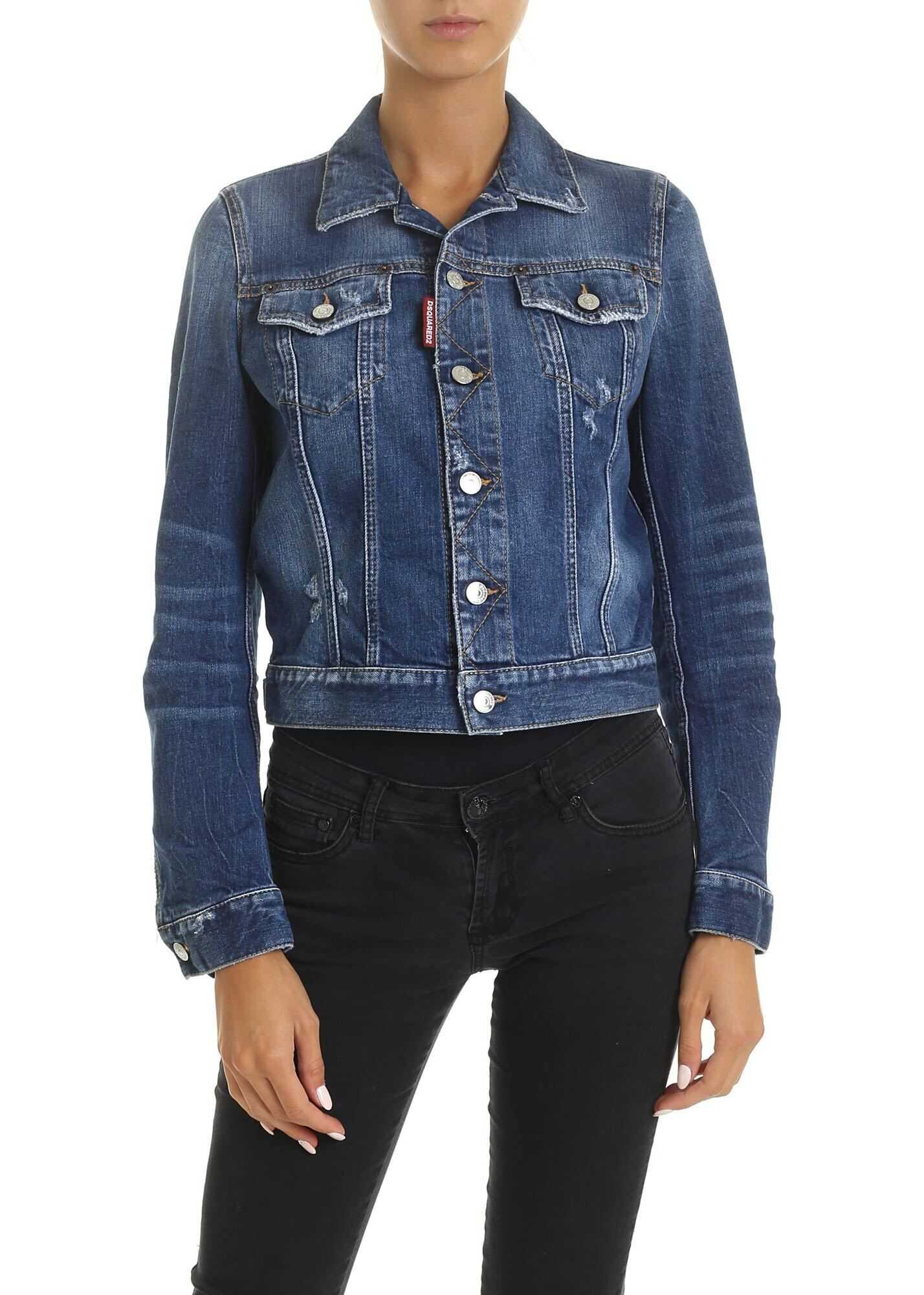 DSQUARED2 Washed-Effect Denim Jacket Light Blue
