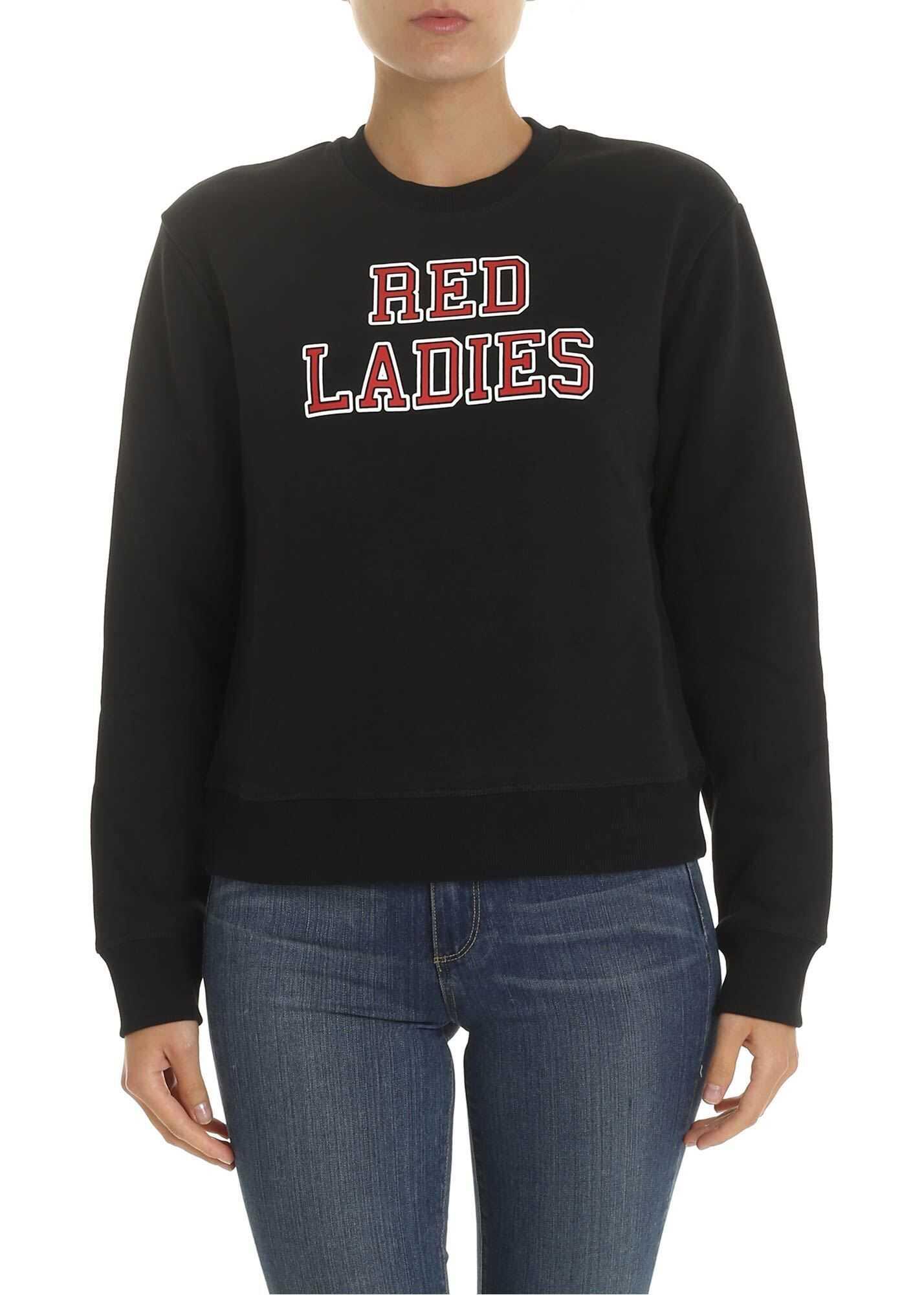 RED VALENTINO Red Ladies Print Sweatshirt In Black Black