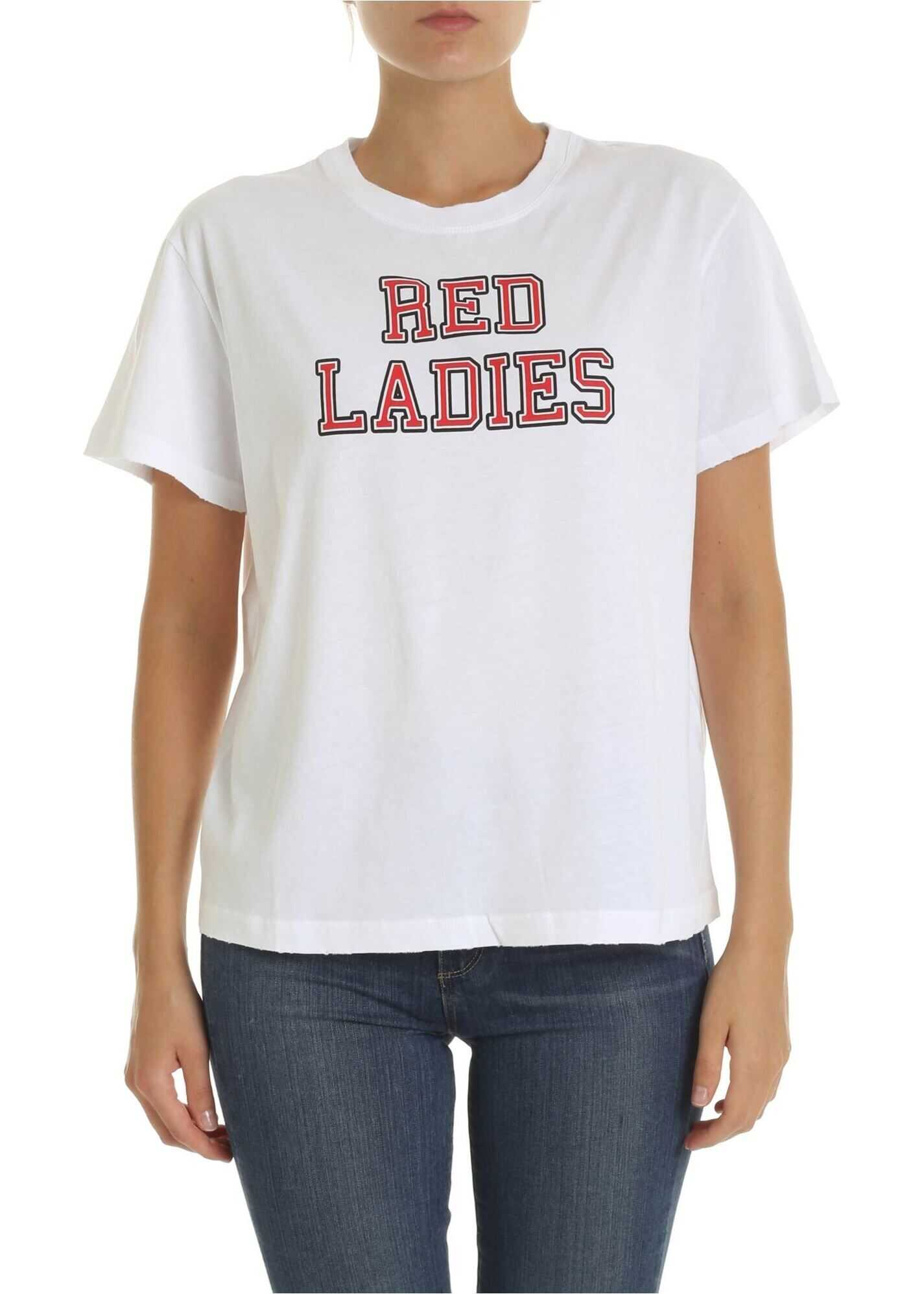 Red Ladies T-Shirt In White