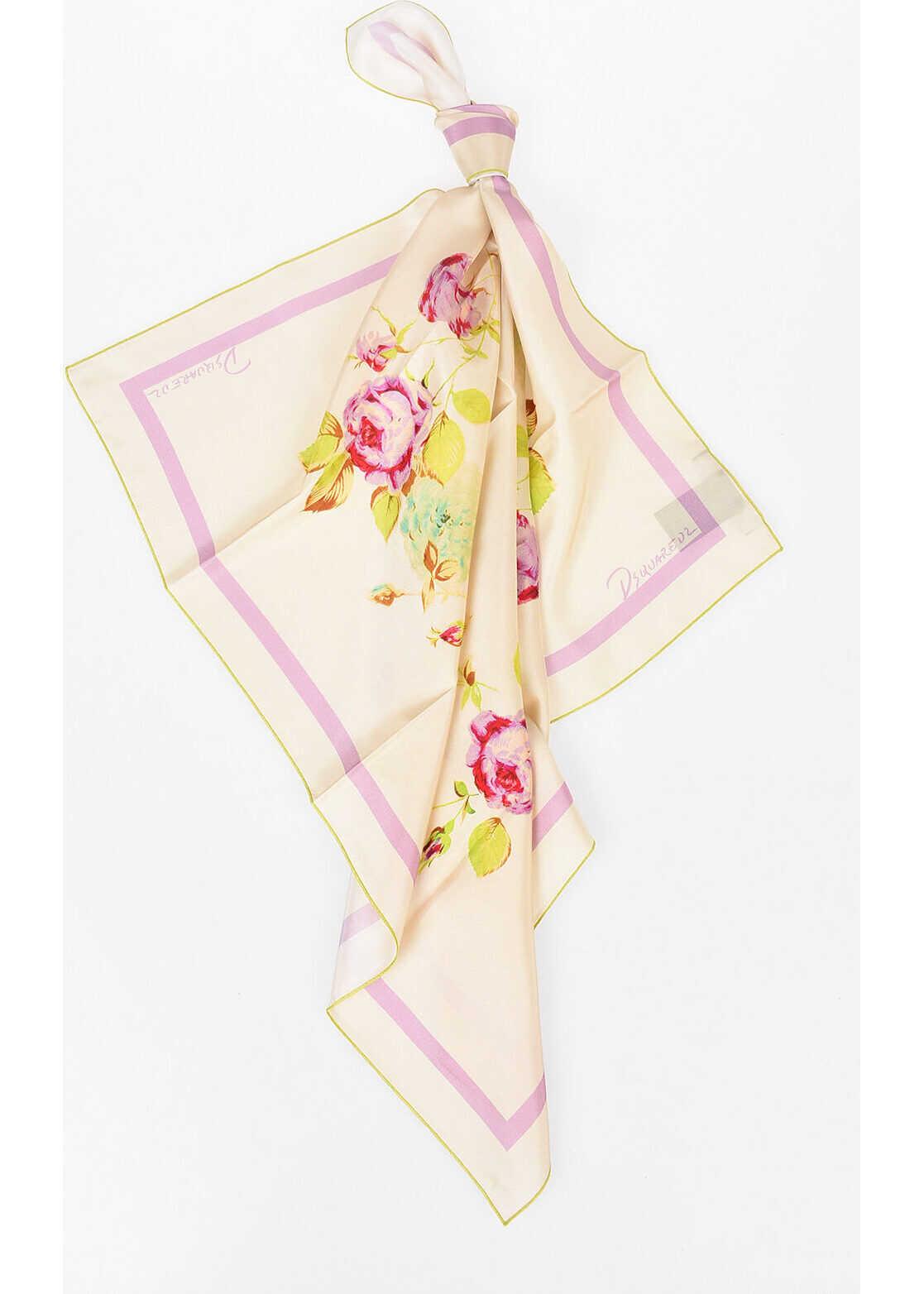 DSQUARED2 70x70cm Silk Foulard BEIGE