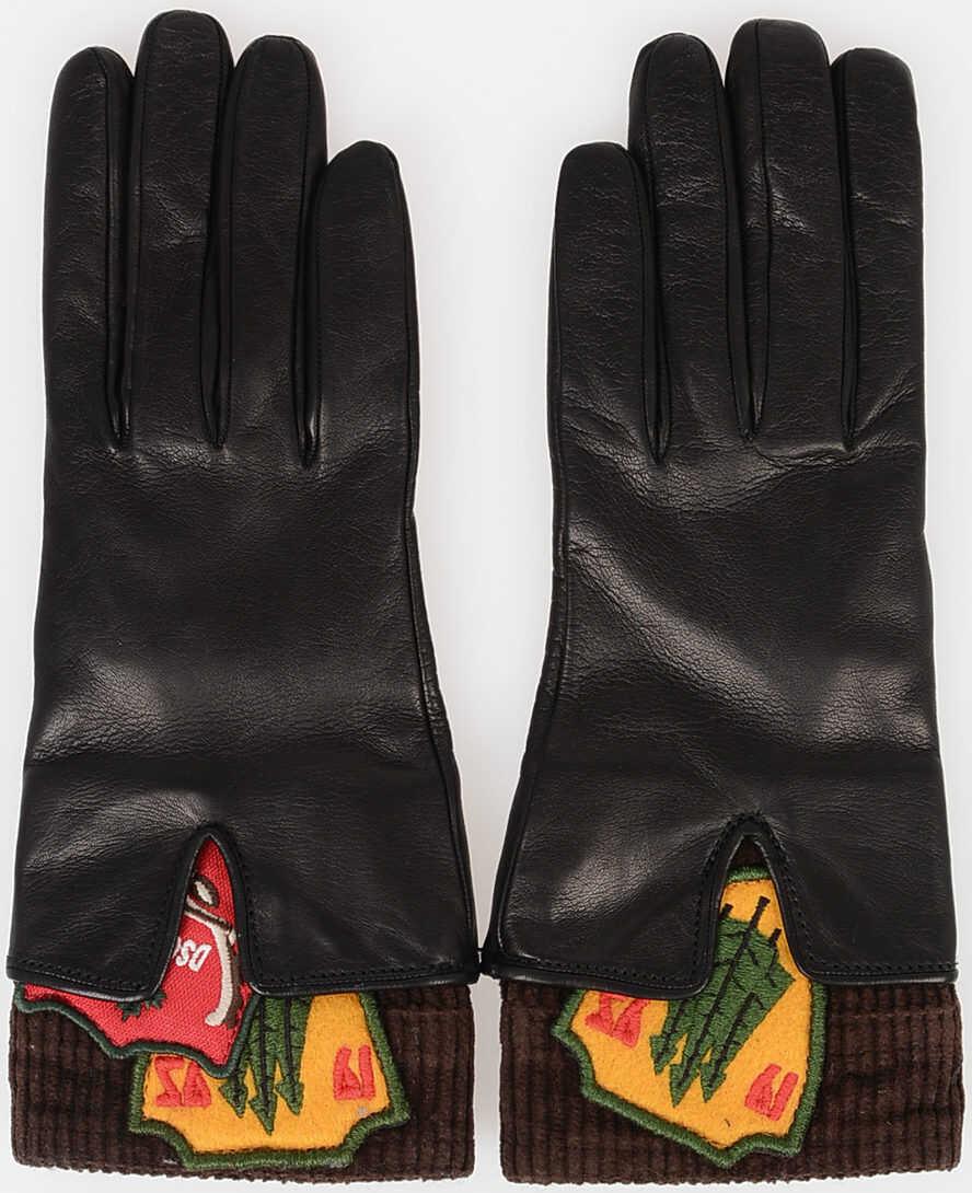 DSQUARED2 Velvet and Leather Gloves BLACK