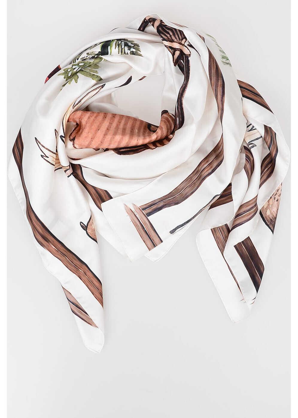 DSQUARED2 108x108 Silk Foulard WHITE