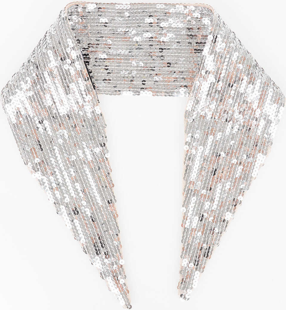DSQUARED2 80x9cm Sequined Foulard SILVER