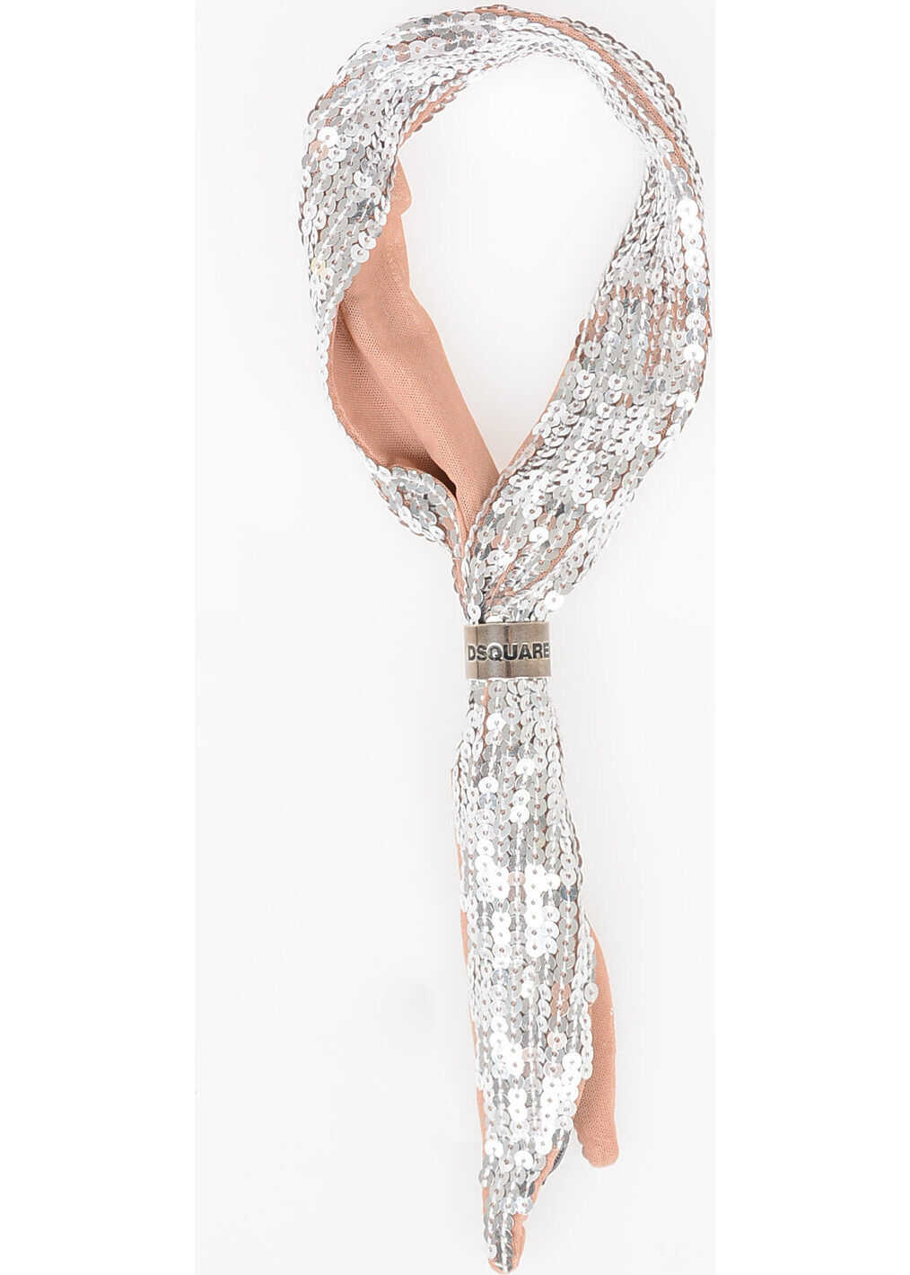 DSQUARED2 80x9cm Sequined Ring-Bandana SILVER