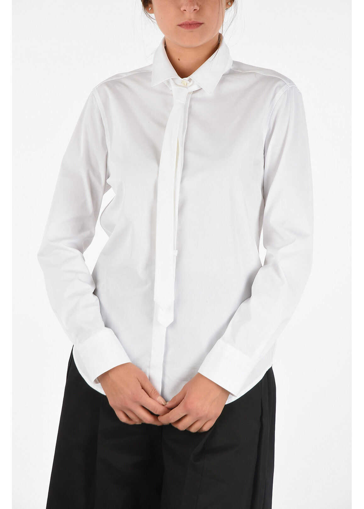 Neil Barrett Slim Fit Blouse with Tie WHITE