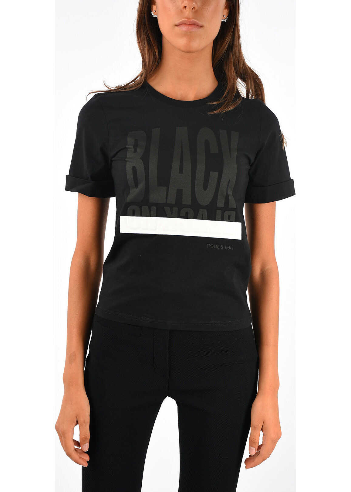 Neil Barrett BLACK ON BLACK Printed Crewneck T-shirt BLACK