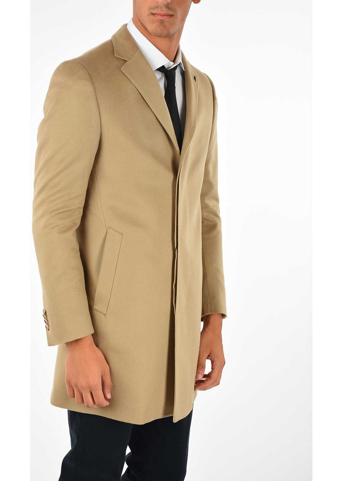 CORNELIANI CC COLLECTION Single Breasted Coat Hidden Closure BEIGE