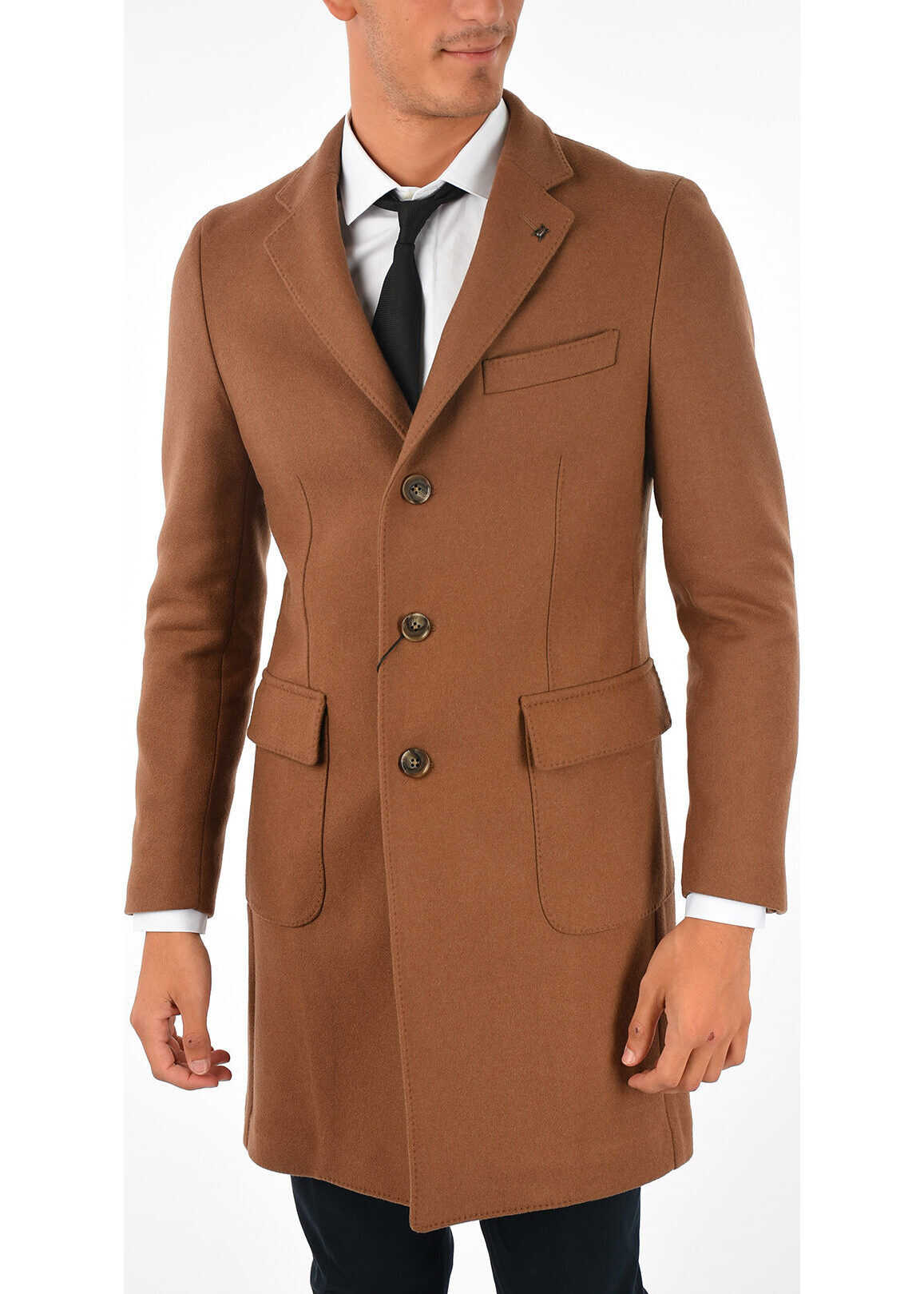 CORNELIANI CC COLLECTION Single Breasted 2 Button Coat BROWN