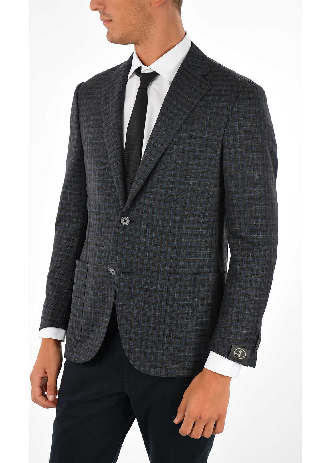 CORNELIANI Virgin Wool and Silk GUN CLUB CHECK Blazer BLUE