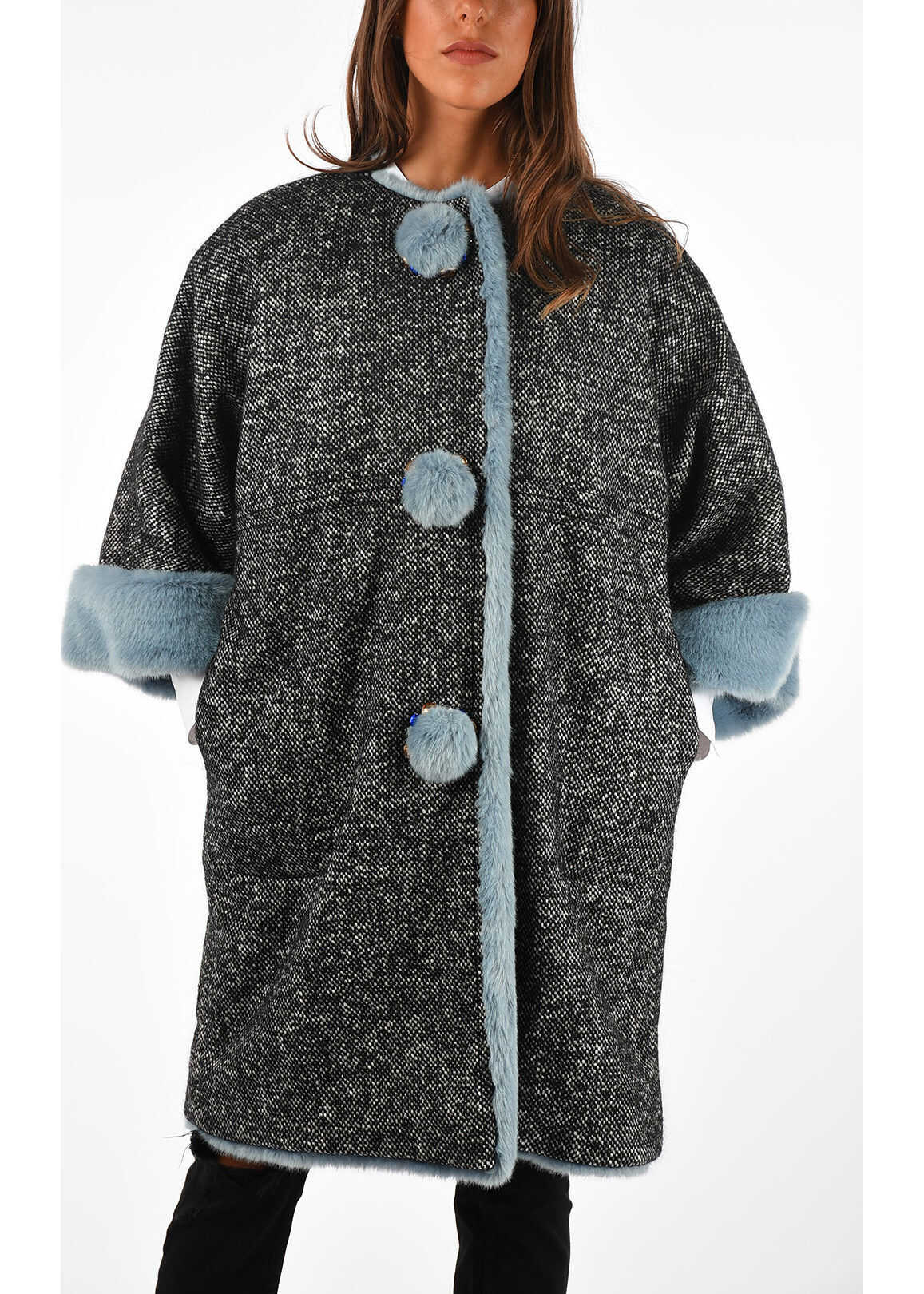 shephard's check faux fur a-line coat