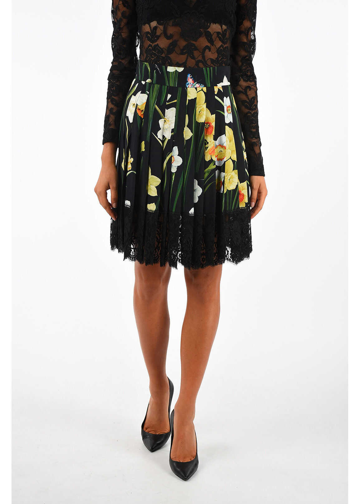 Dolce & Gabbana floral-print circle skirt BLACK