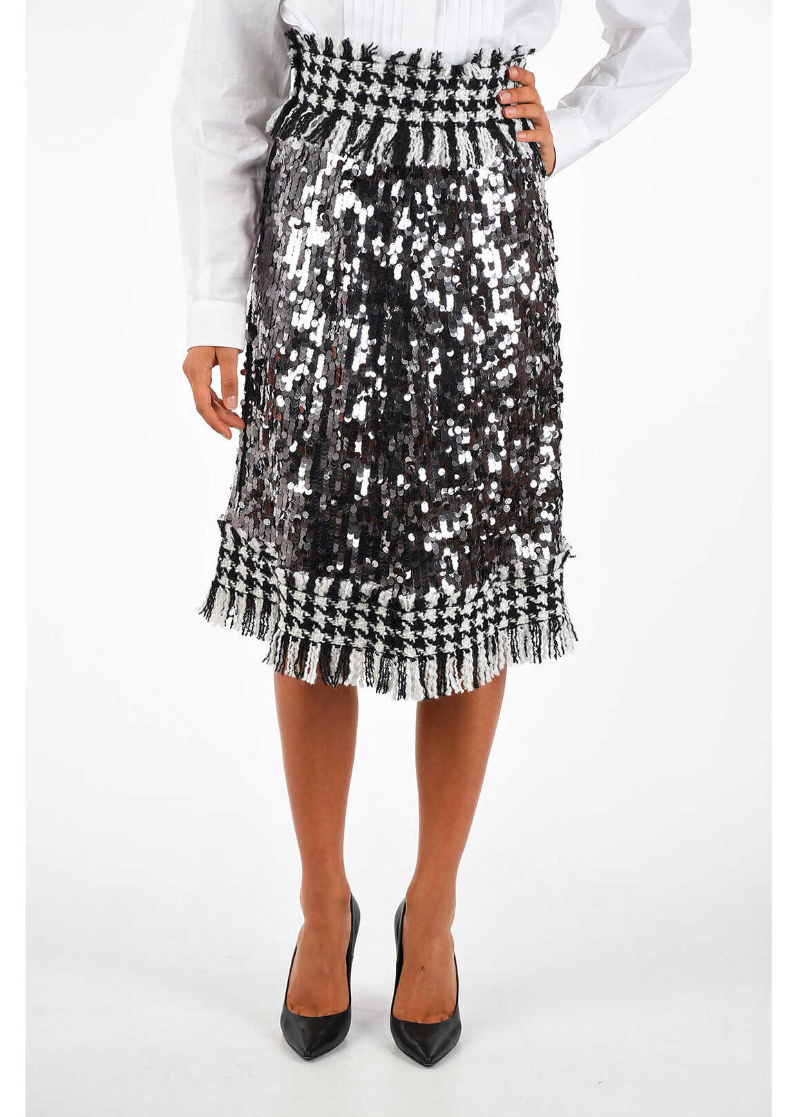 Dolce & Gabbana two-tone sequined pencil skirt BLACK & WHITE