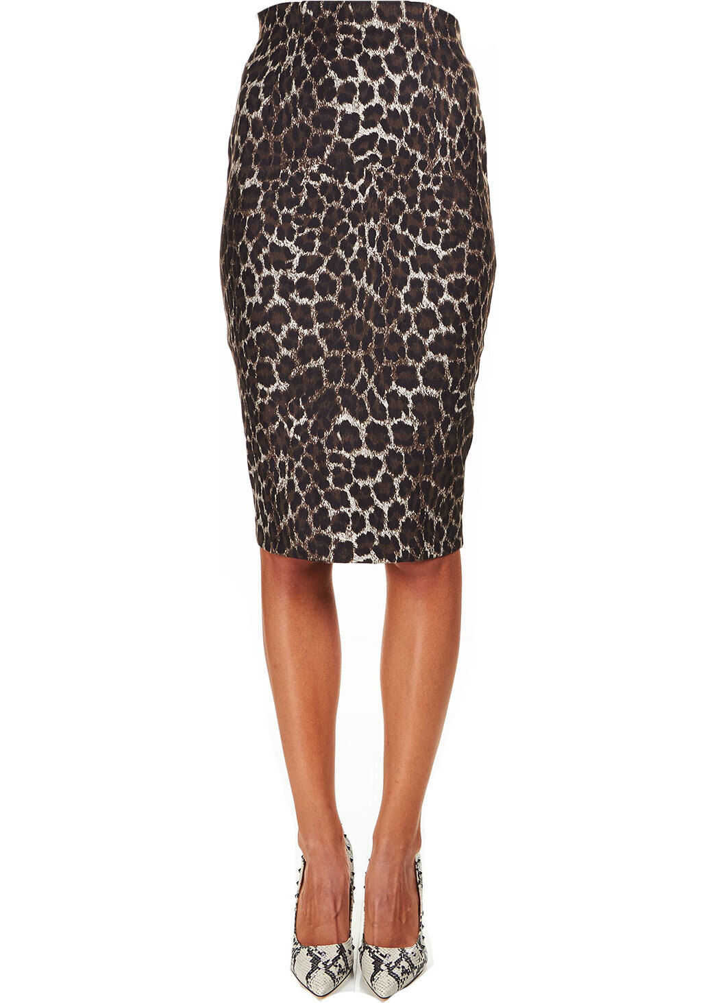 GUESS Pencil skirt with animal print Brown
