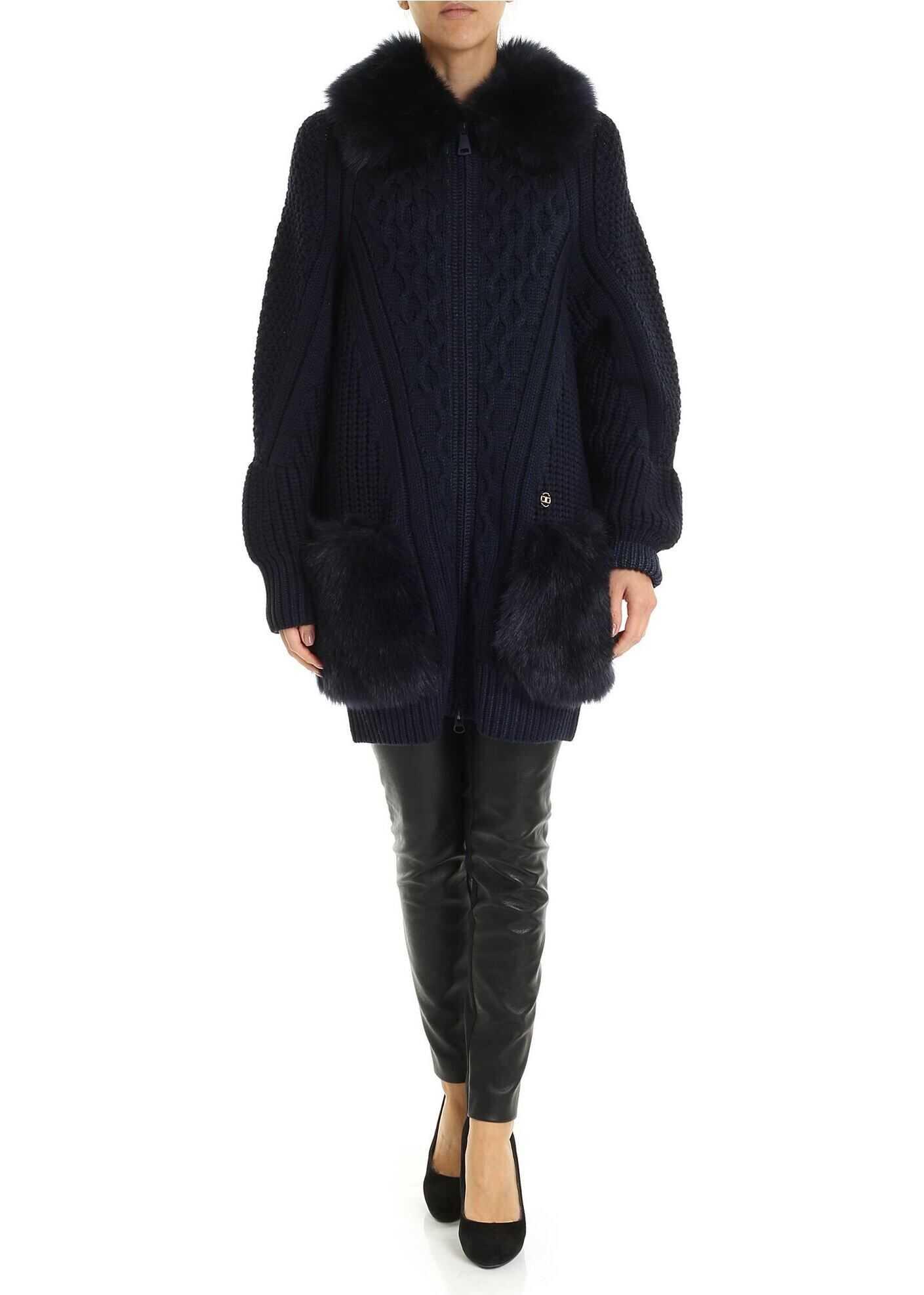 Elisabetta Franchi Dark Blue Cardigan With Faux Fur Inserts Blue