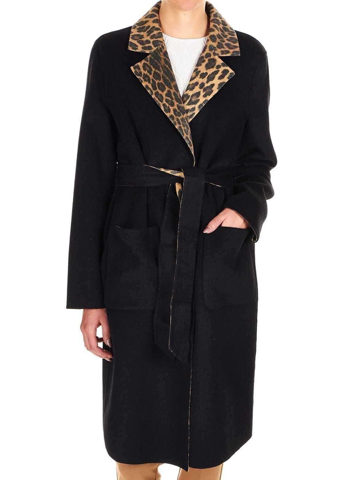 Liu Jo Reversible coat with animal print Black