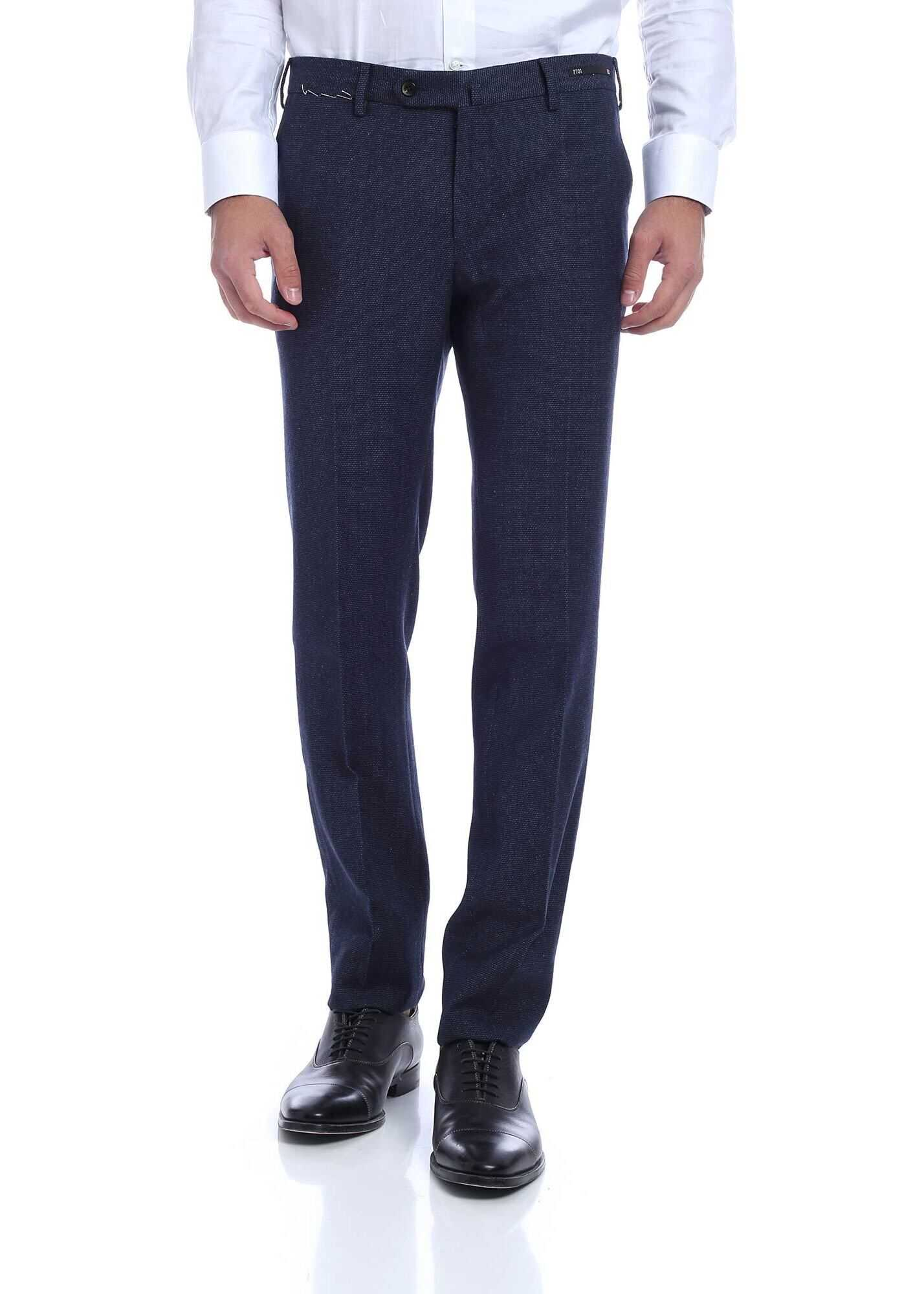 Virgin Wool And Cotton Trousers In Blue thumbnail