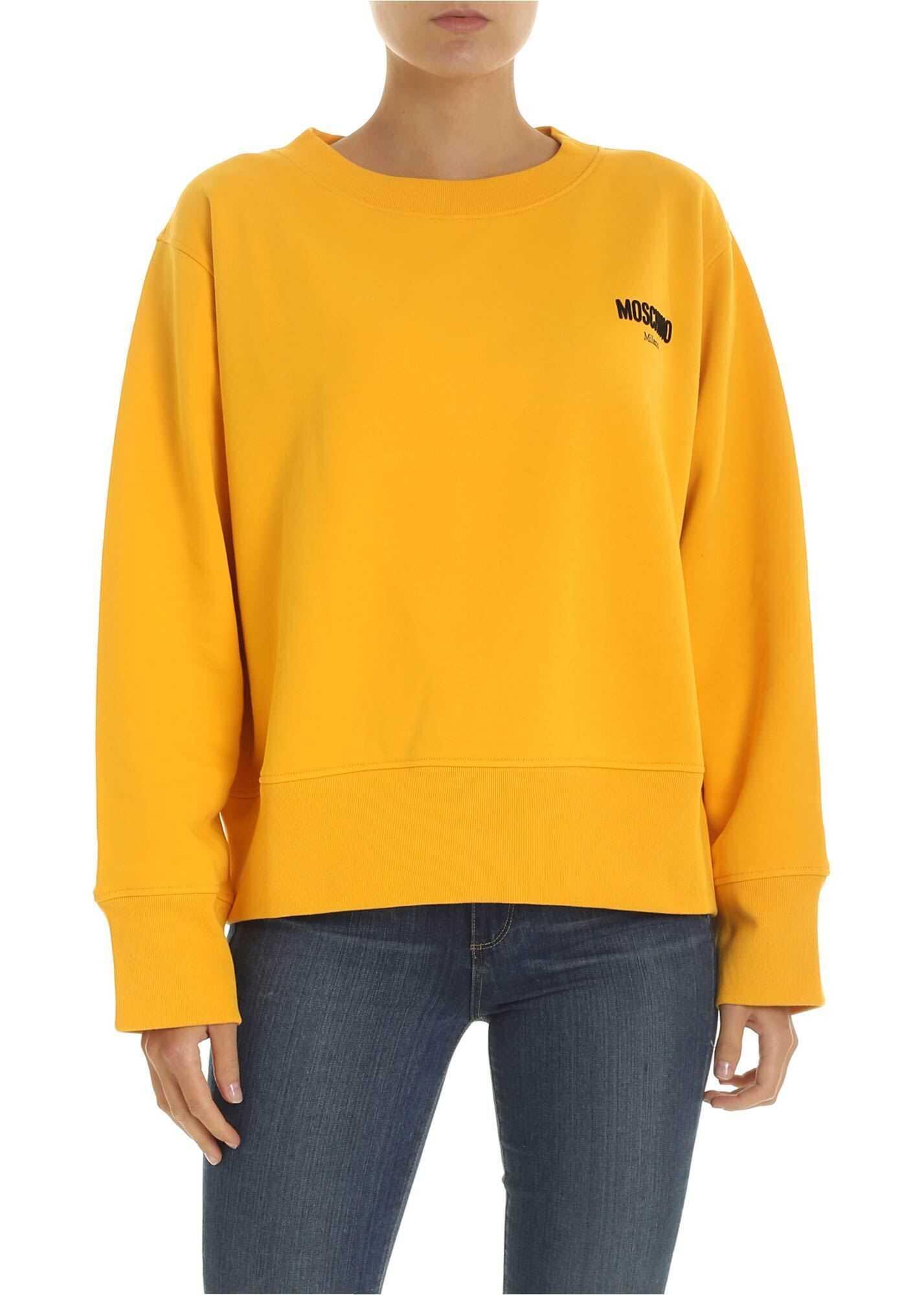 Moschino Yellow Boxy Sweatshirt With Moschino Print Yellow