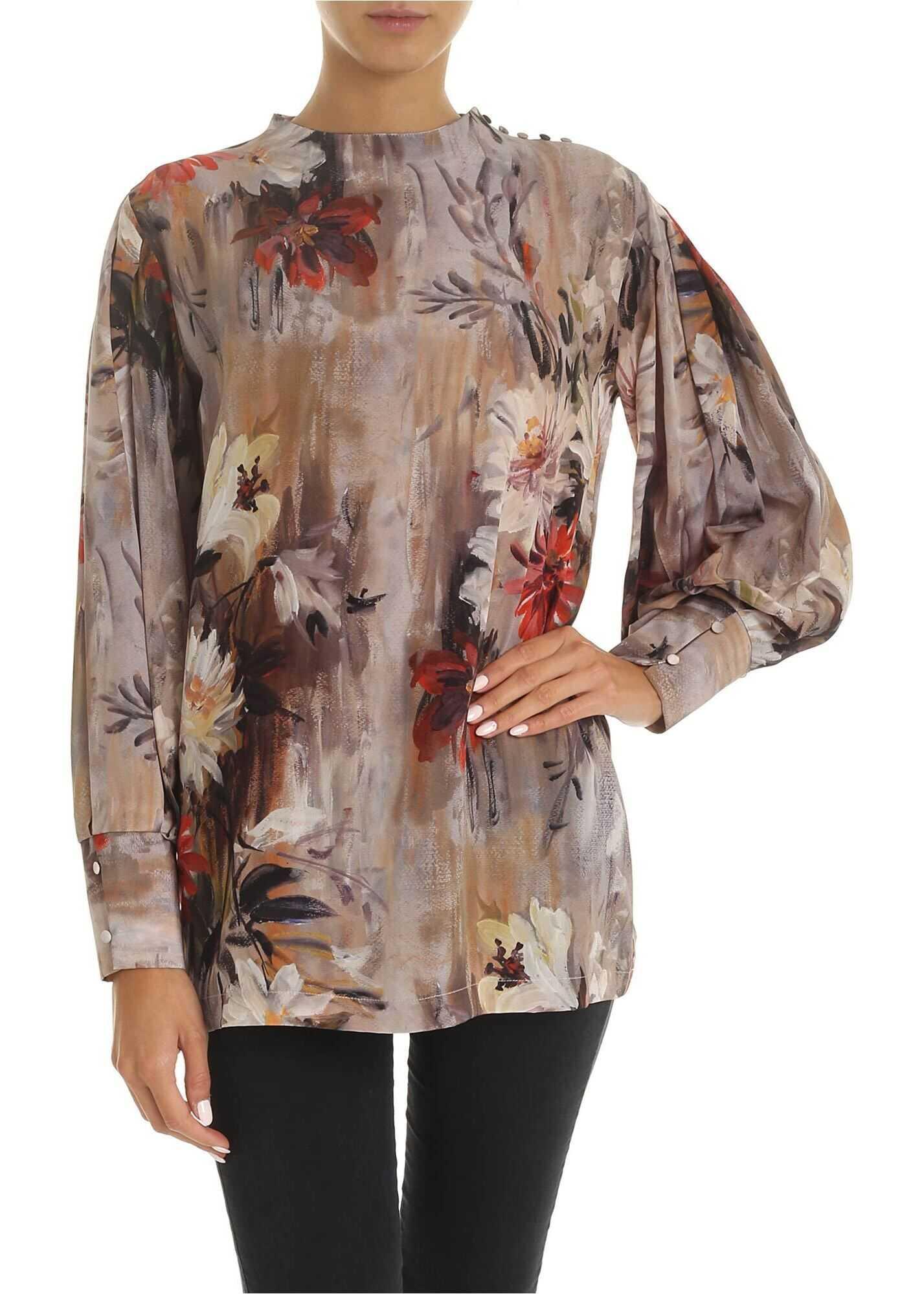 L`Autre Chose Blouse With Multicolor Floral Print Beige