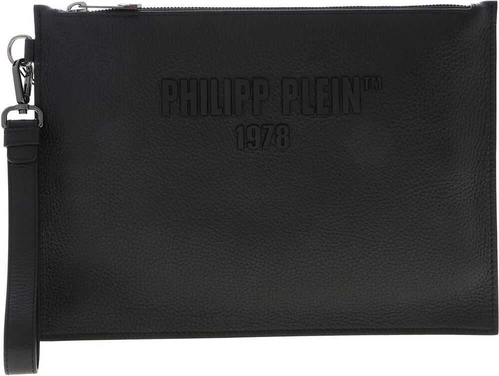 Black Clutch Bag With Metal Logo thumbnail