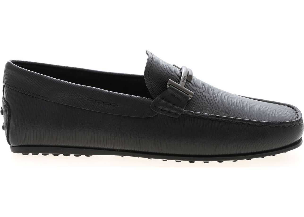 TOD'S Black Driver Moccasins With Double T Logo Black